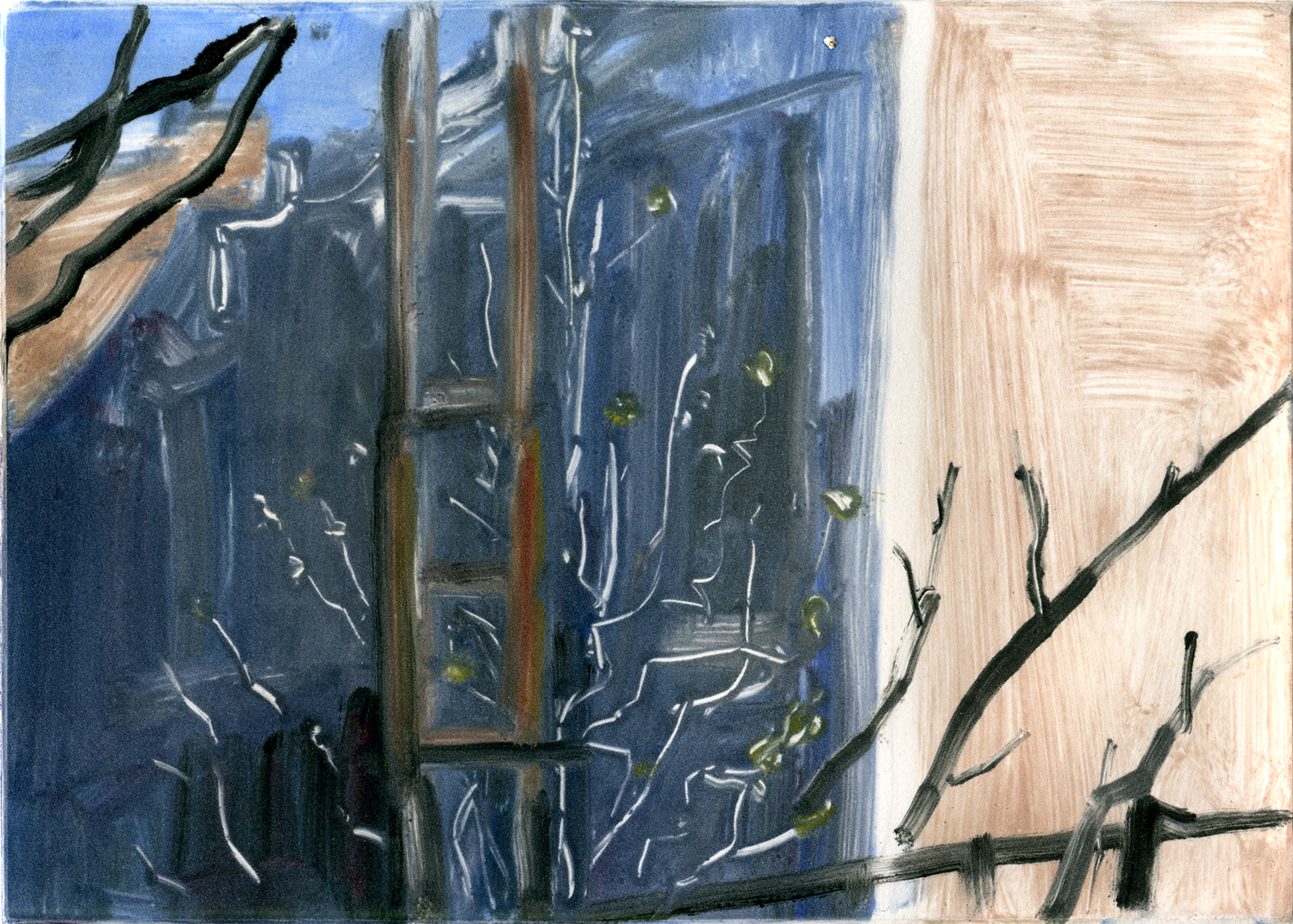 """Apartment's view (early spring 2), 5 """" x 7"""",Monotype."""