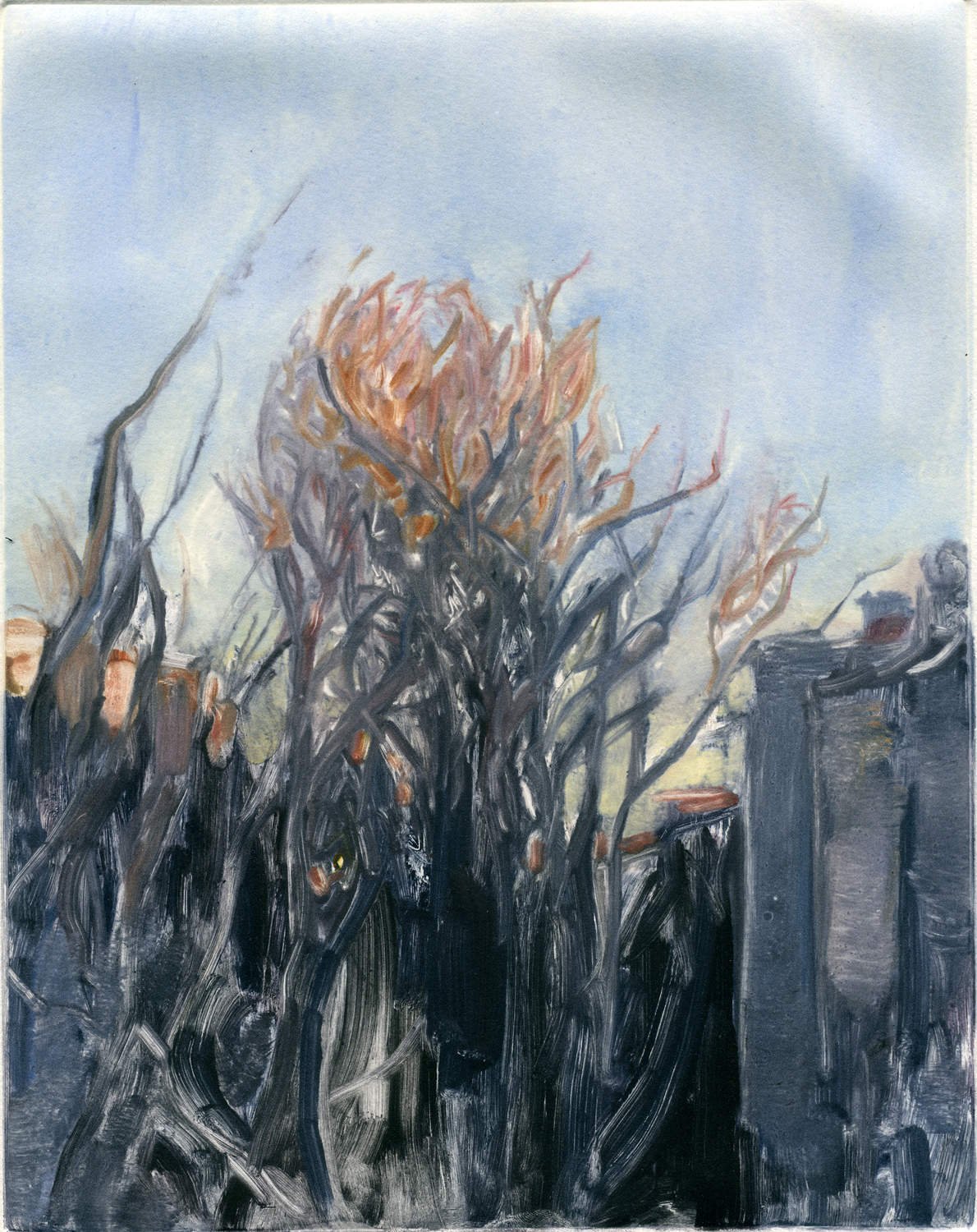 """View from my apartment (early spring), 10"""" x 8"""", Monotype."""
