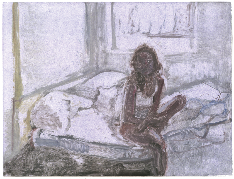"Kate, purple room.  14"" x 18"", Monotype."