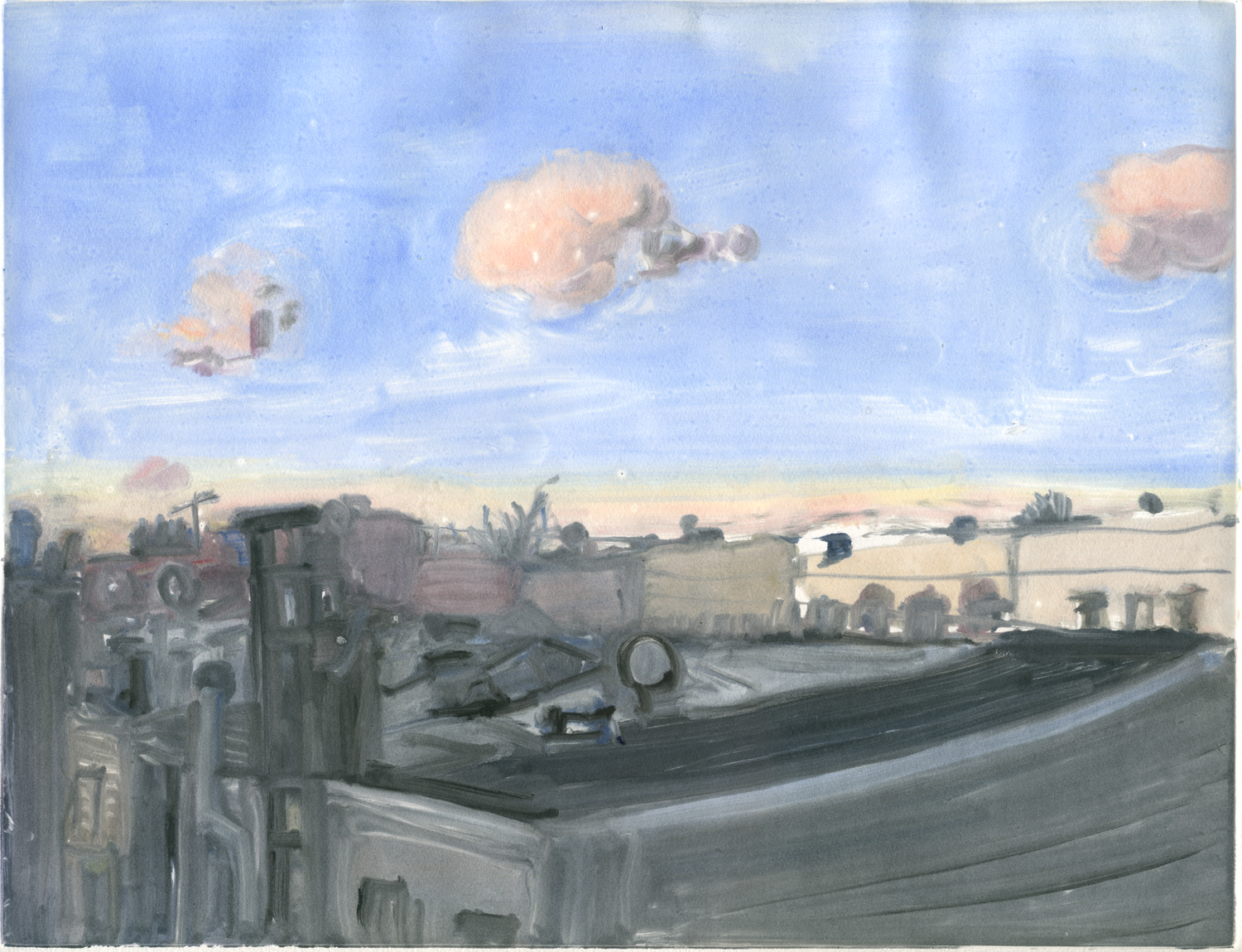 """Pink Clouds, 11""""x 14"""", Monotype."""