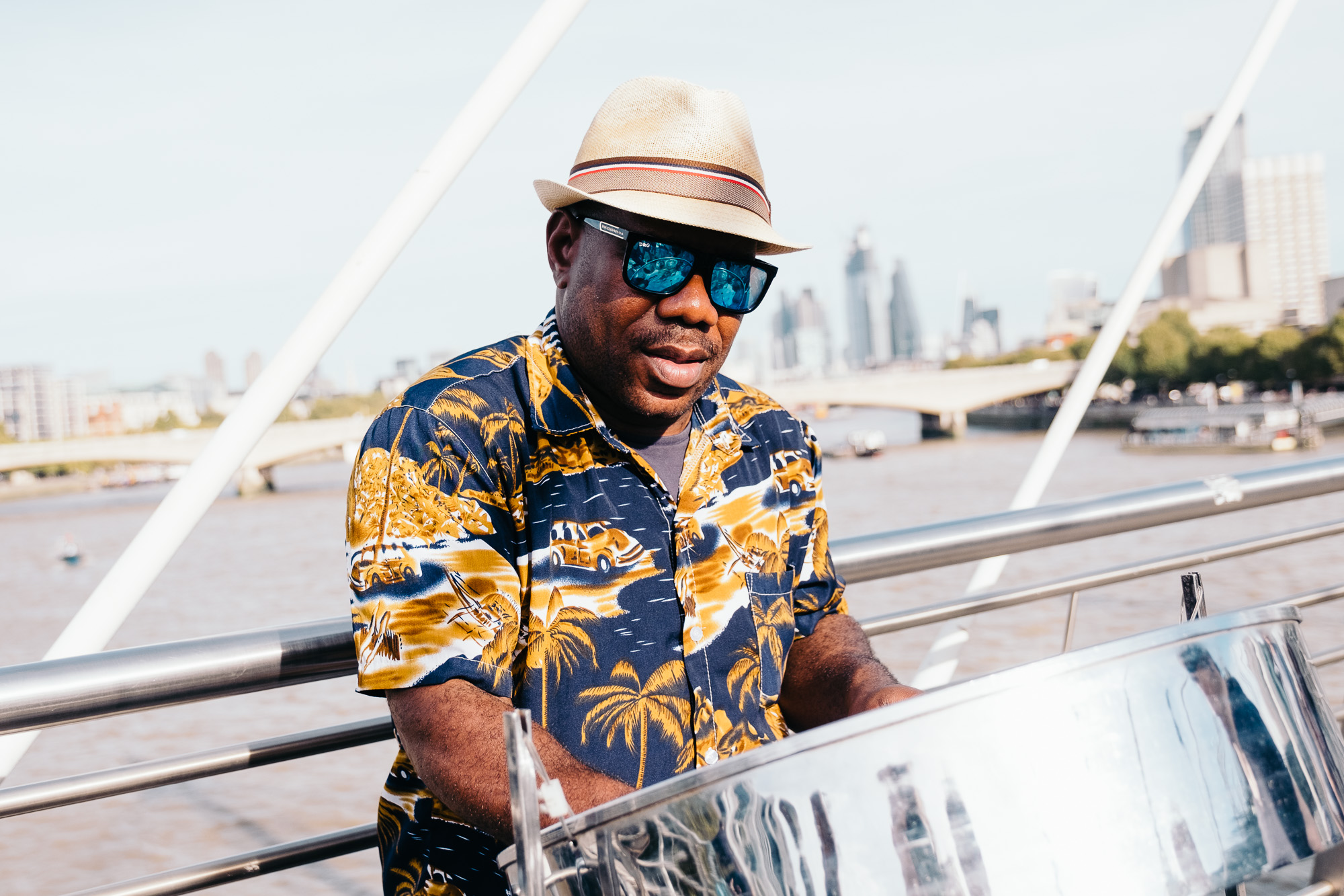 Guy playing steel drums on Jubilee Bridge © Andrew Newson