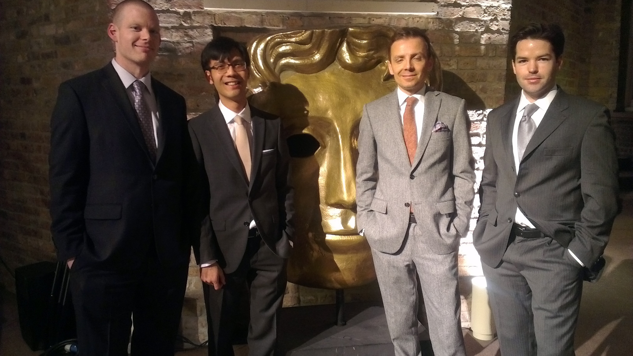 Alastair Connolly, Baldwin Li, Mark Gill and Harry Otto Brünjes at the BAFTA nominees party, Asprey London.