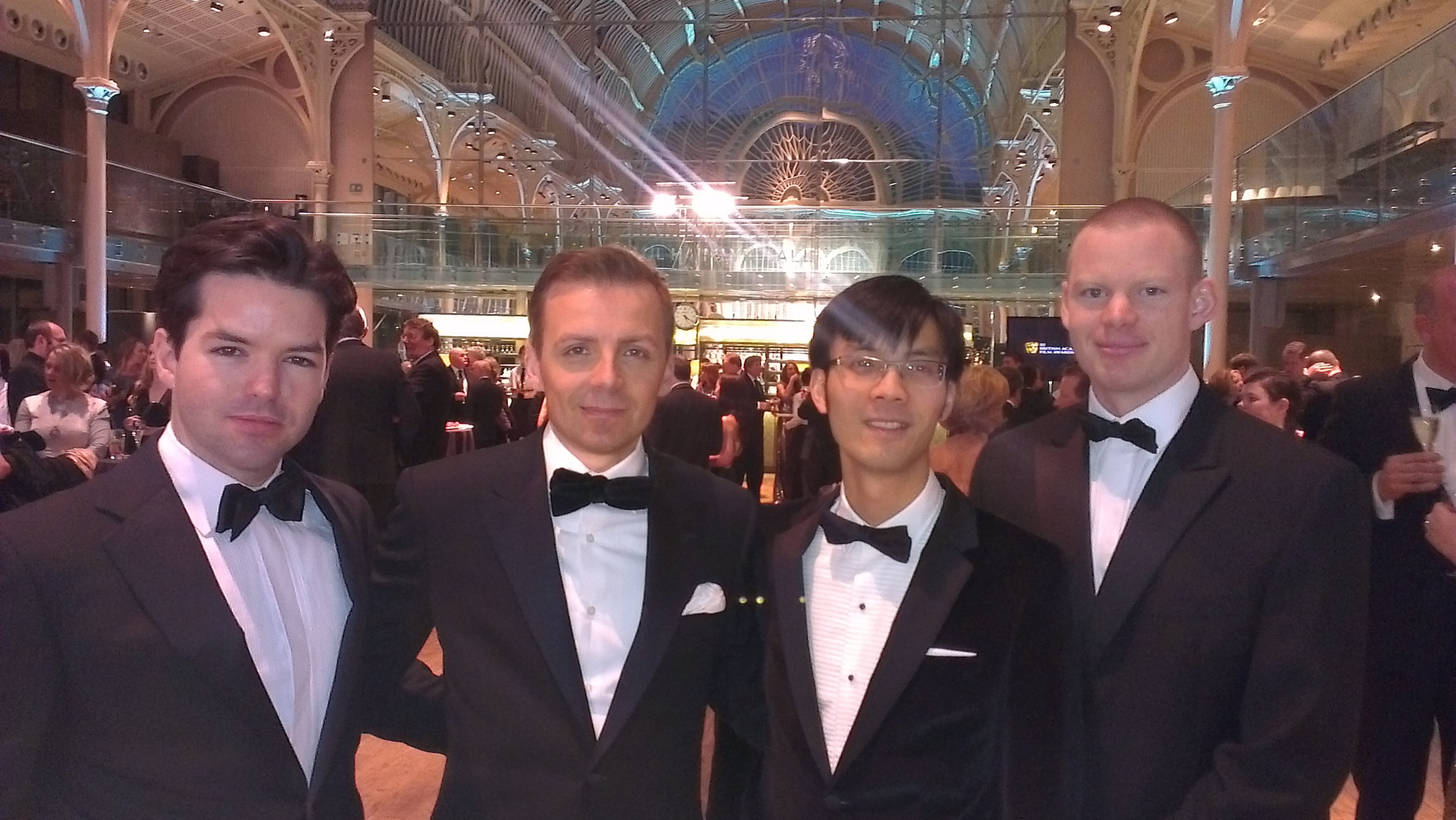 Harry Otto Brünjes, Mark Gill, Baldwin Li, Alastair Connolly at the BAFTAs at The Royal Opera House, London