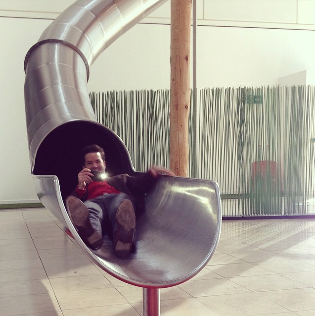 Harry Otto Brünjes testing out the treehouse slide at OVO HQ.
