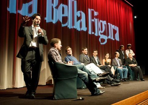 Harry Otto Brunjes and the cast of La Bella Figura at BAFTA