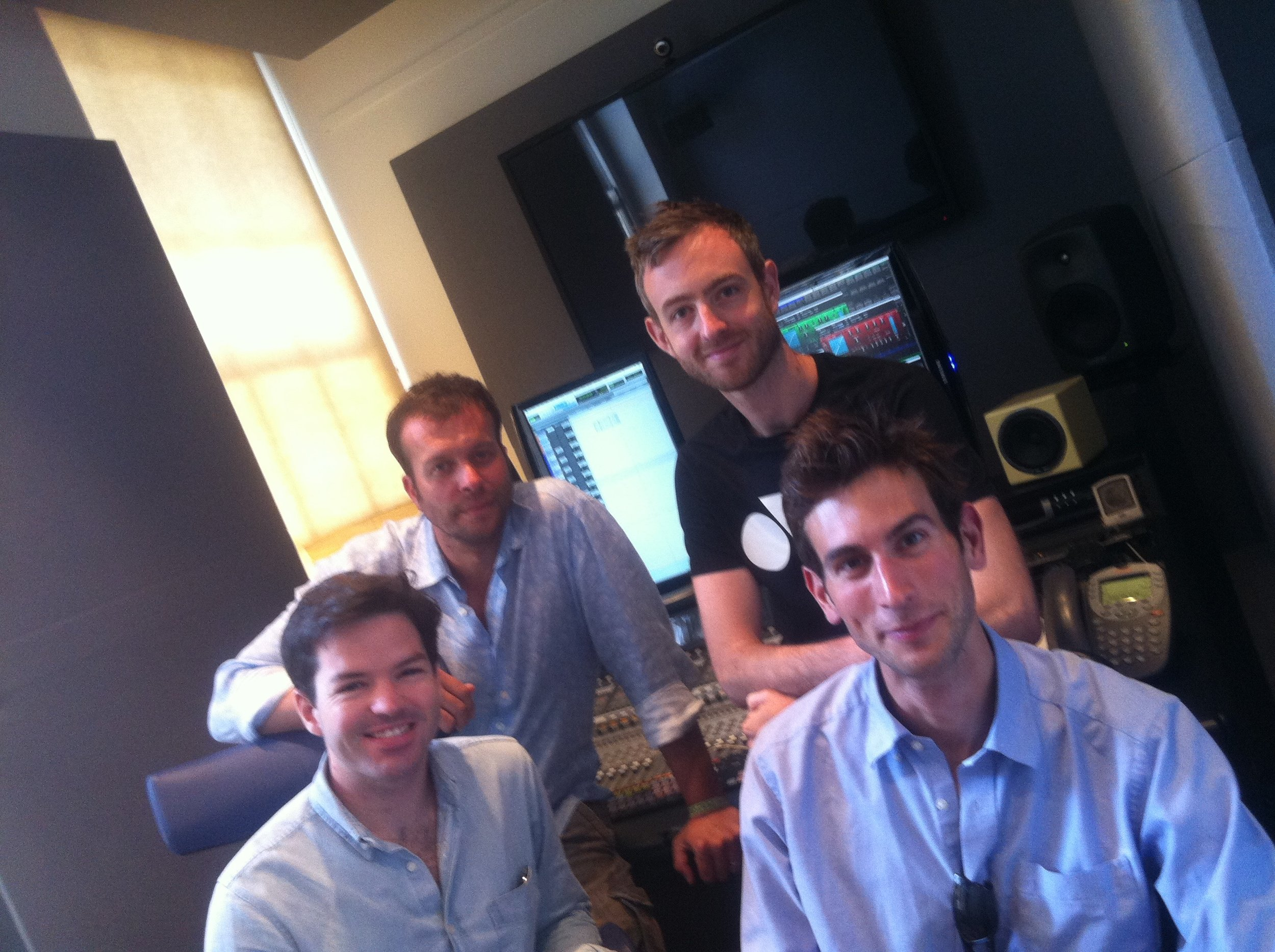 Harry Otto Brunjes, John Schwab & Thom Paisley, with James Edenborough (front right) recording Melaku Child Genius