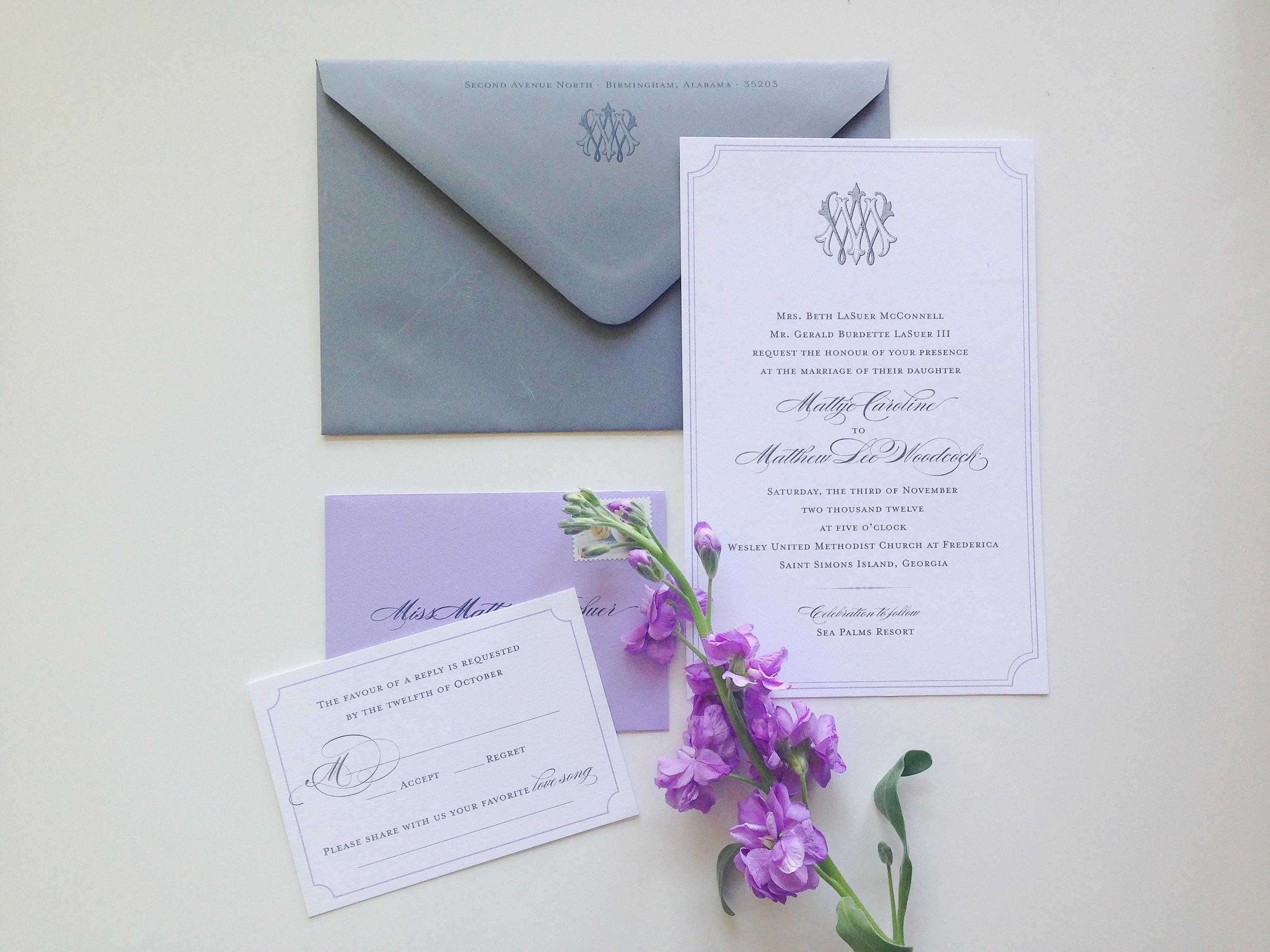 custom invitation suite by  Weddings Etc.  of Homewood, AL