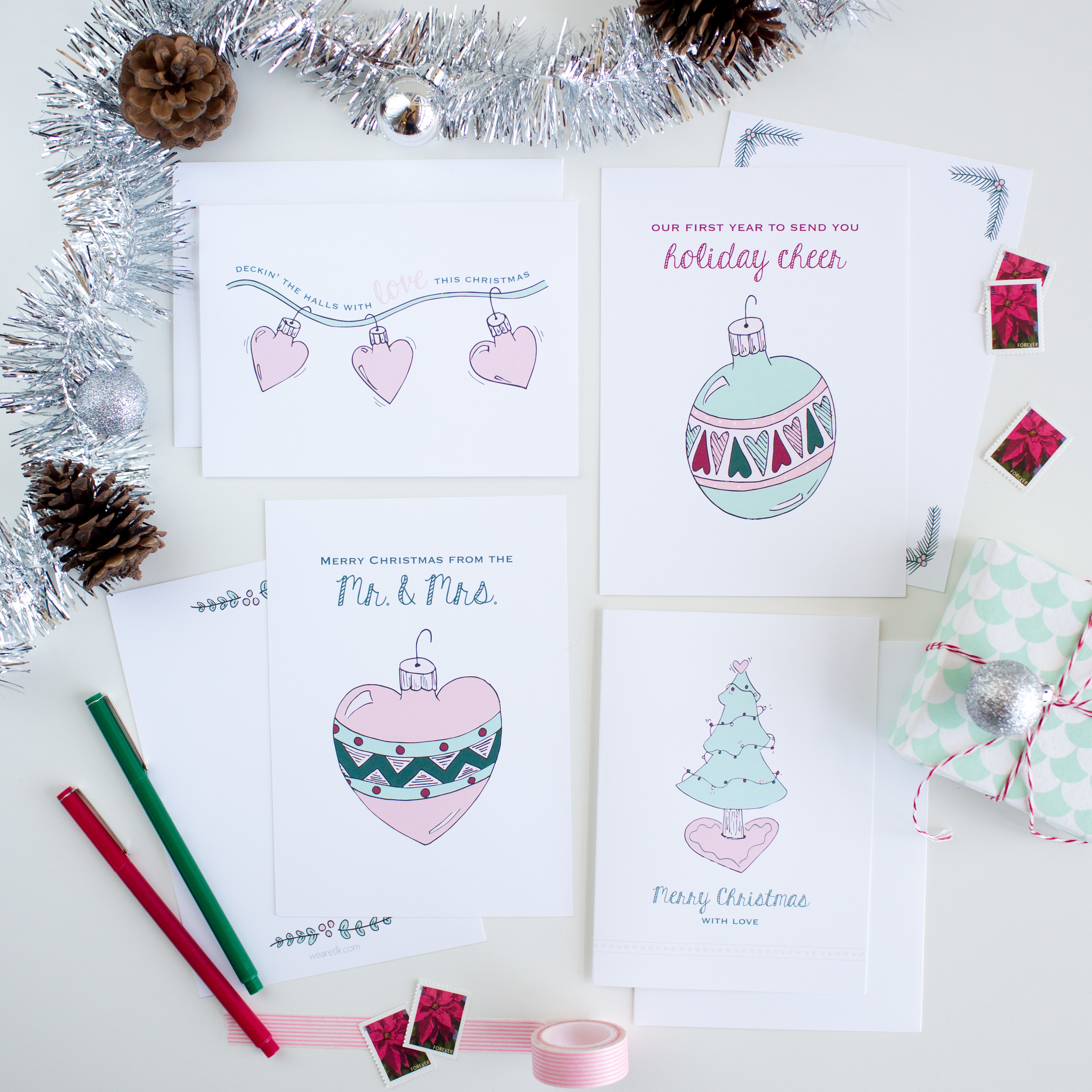 There are four designs in the TLK Christmas card collection. See more details in the  TLK Shop !