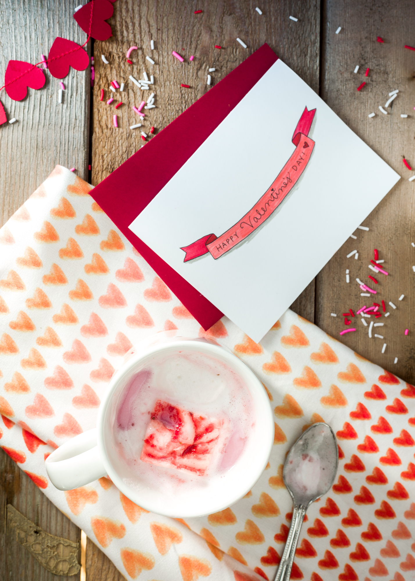 Strawberry Swirl Marshmallow from  Luv Cooks ,  Happy Valentine's Day card  from the  TLK Shop ,  Mug  and linen from  West Elm ,  Pink Hot Chocolate  from Sur La Table.
