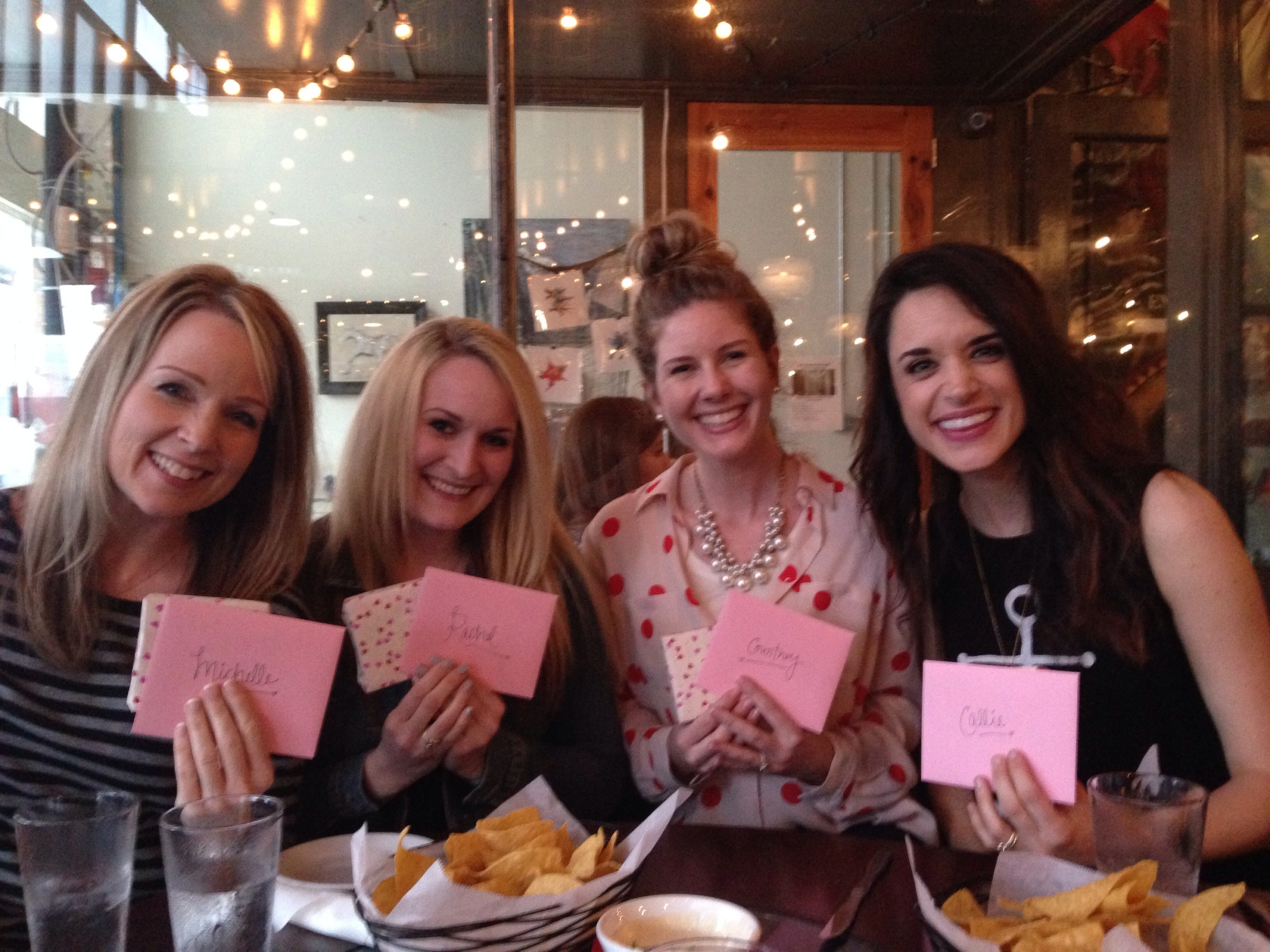 Just past the year anniversary of the launch of The LovingKind, in March, I had a special celebration with these sweet friends who played big roles in helping me bring TLK to life!  From L to R:  Michelle ,  Rachel , Courtney and  Callie