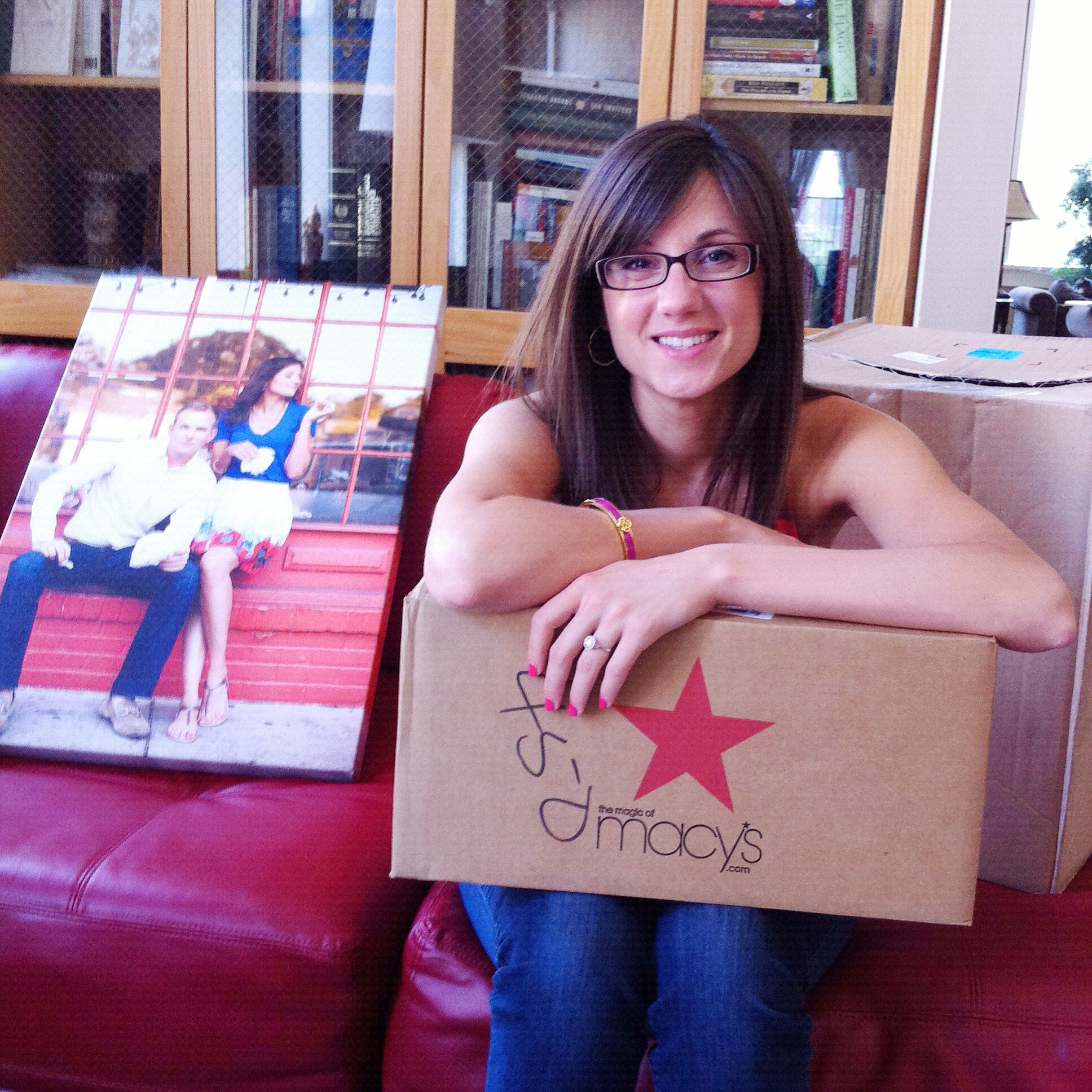 Here's engaged me in 2012 excited about Macy's wedding gifts!