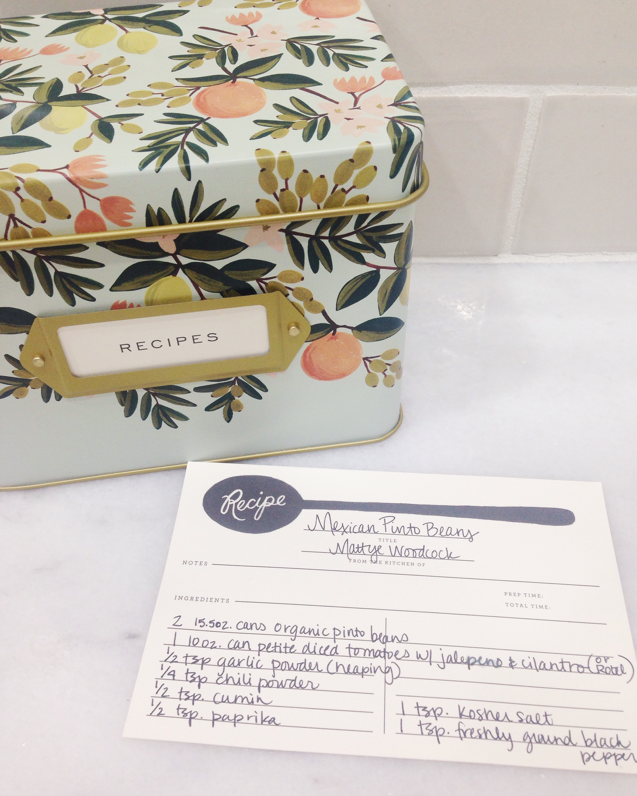 I love my recipe tin by  Rifle Paper .
