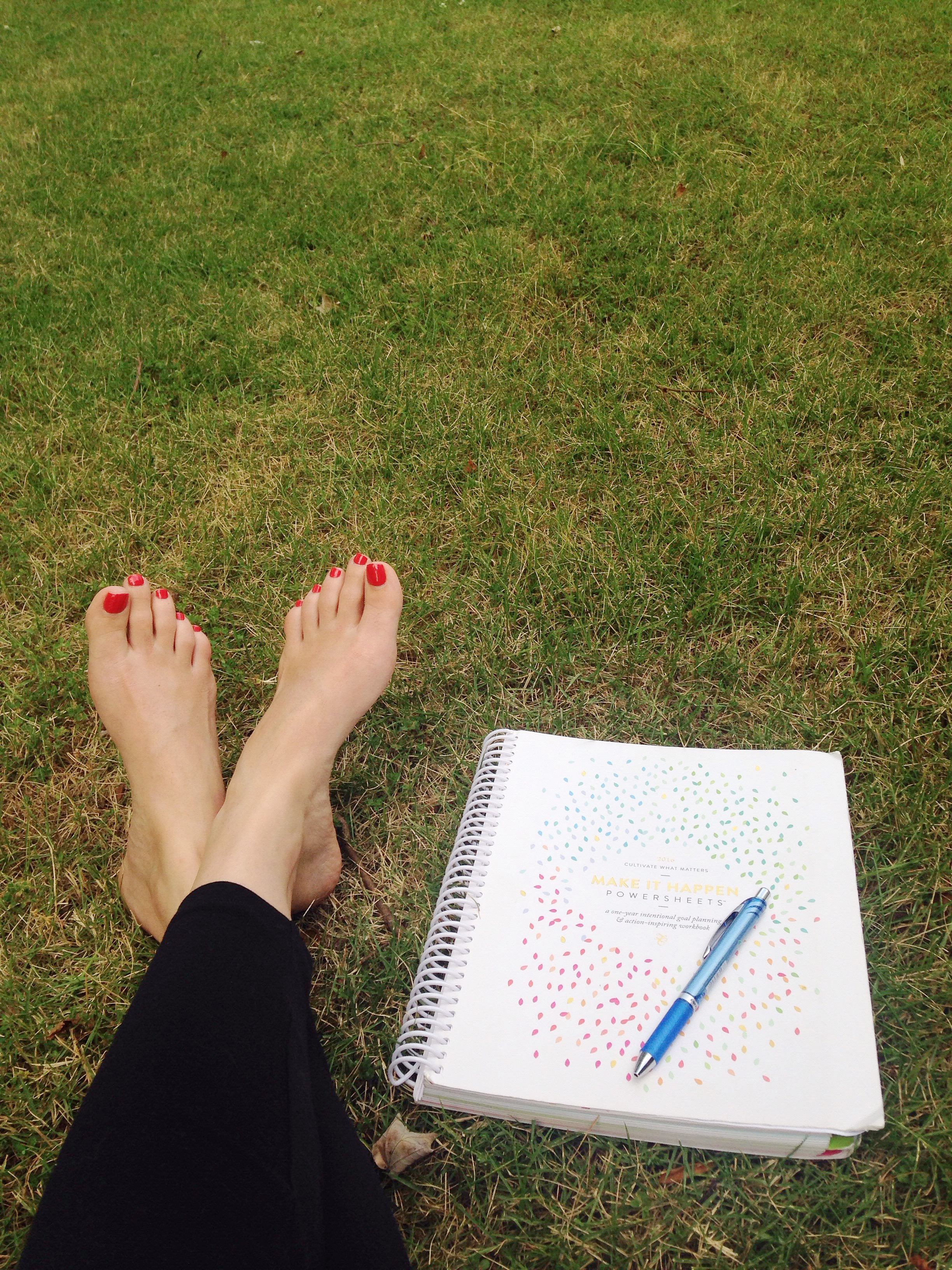 I love sitting on a blanket in my front yard to work through my goals. My mind feels so free outside, and it's easier for me to focus.