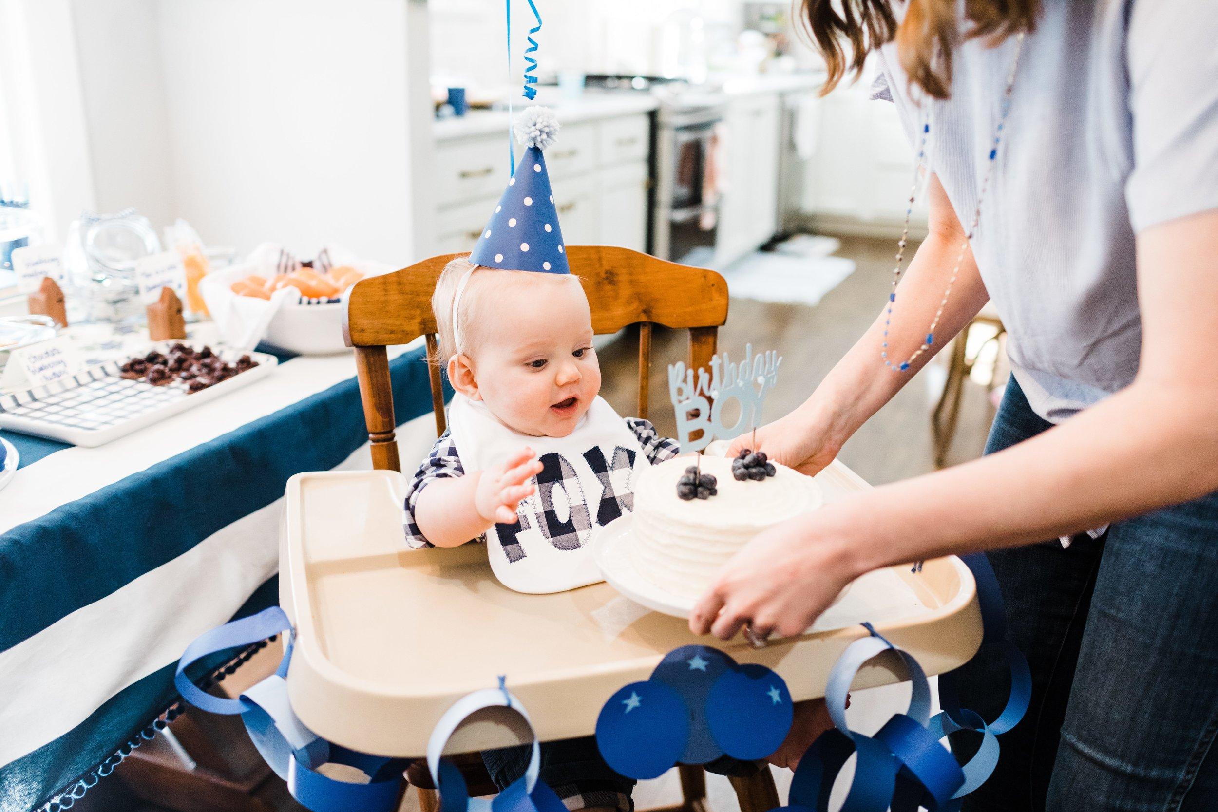 Blueberry themed first birthday smash cake