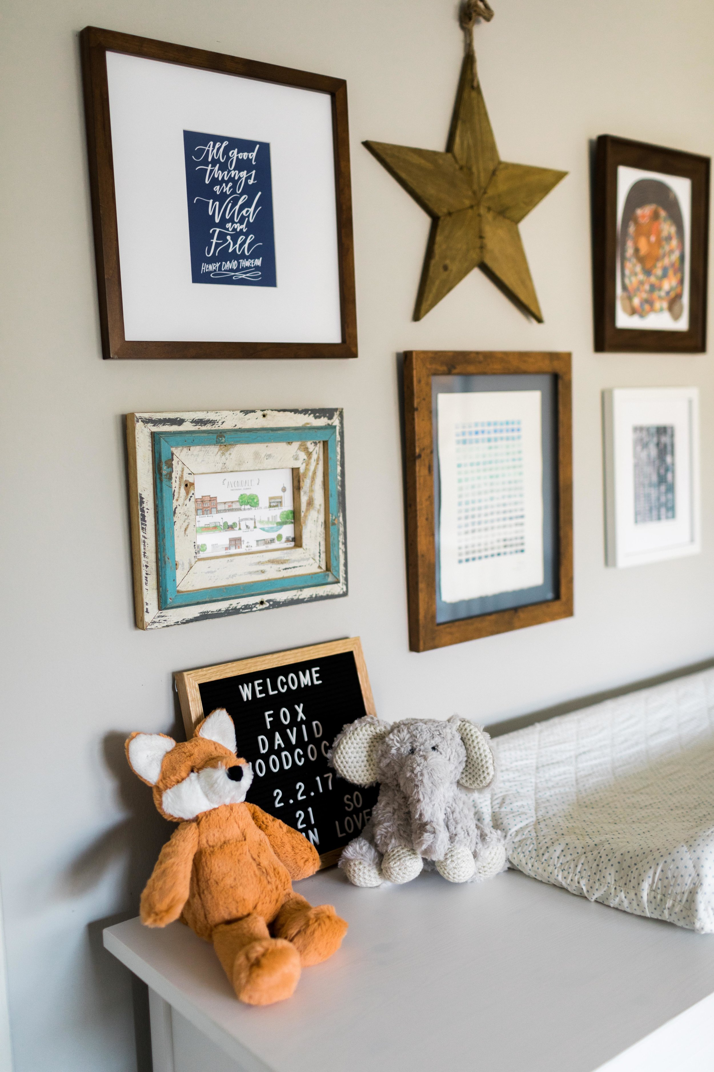 baby boy nursery with pops of color