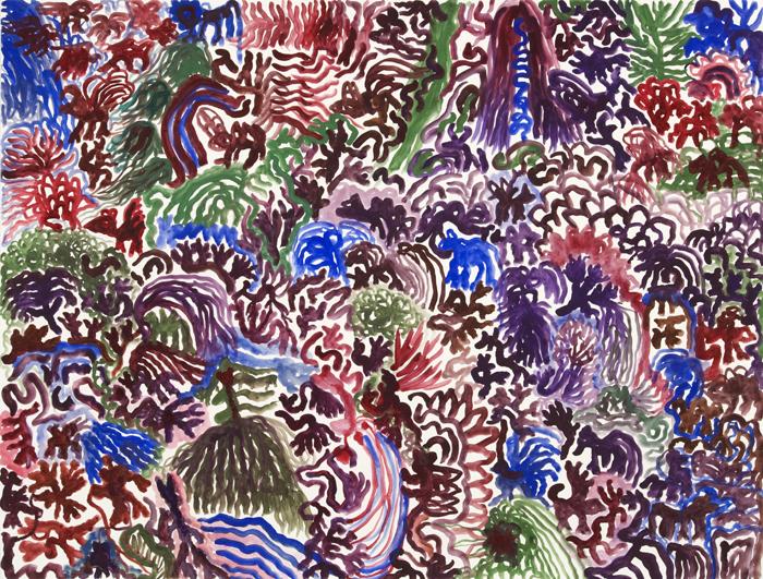 Purple Landscape with Inhabitants