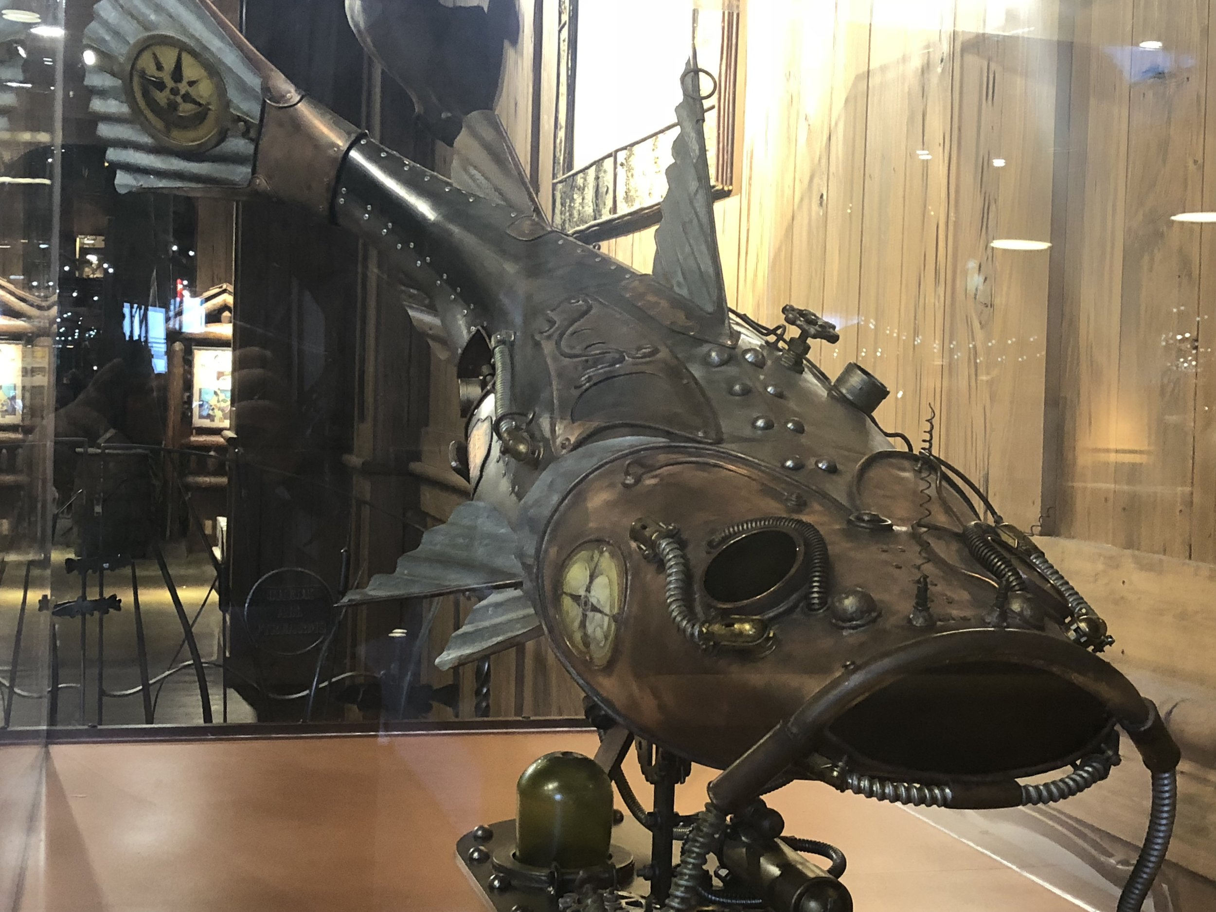 This was the only steampunk fish on the ground floor, but there were a ton more up in the top floor restaurant