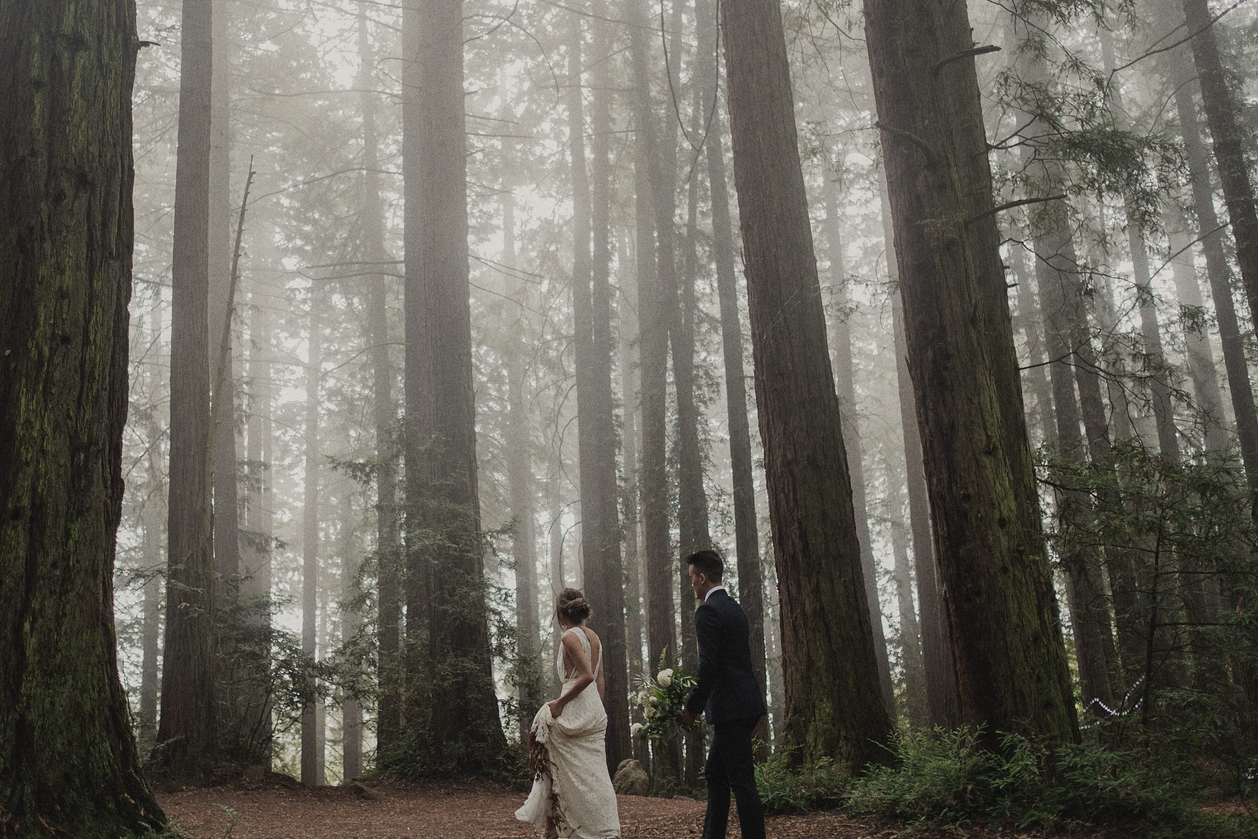 foggy wedding photos at Roberts regional park