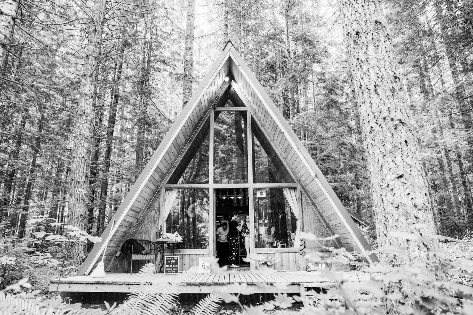 Hebe's Hideout A-Frame cabin all set up for a wedding