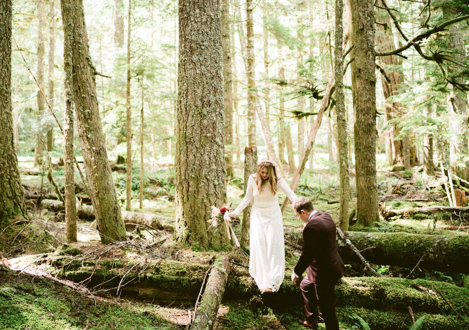 bridal portraits in the woods at mount rainier