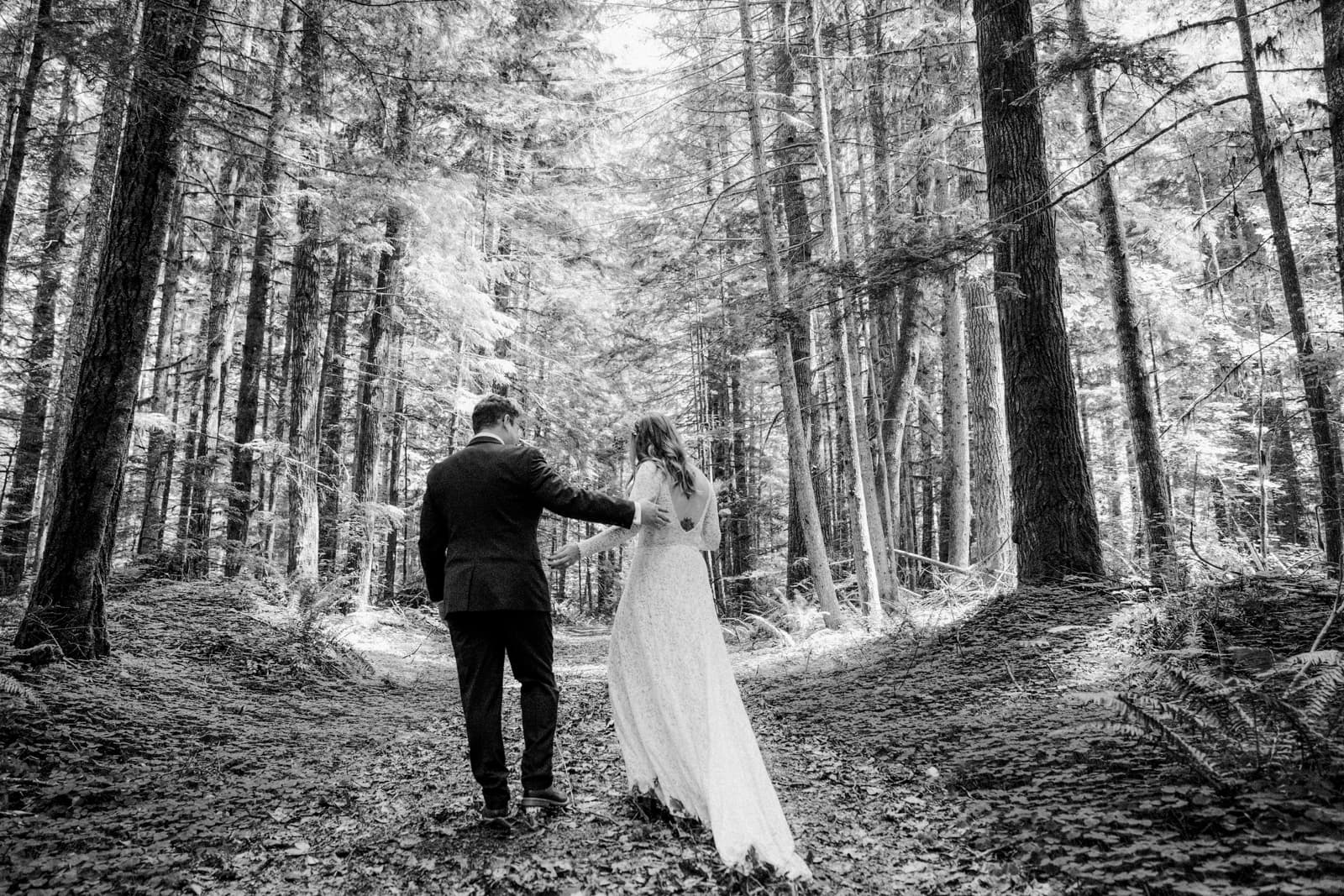 bride and groom walk in the woods at mount rainer