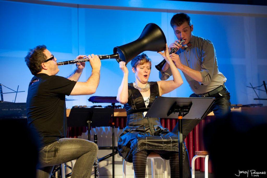 Aperghis:  Sept Crimes de l'Amour . Michael Norwsorthy, clarinet; Brian Calhoon, percussion. SPACE Gallery, Portland ME, 2013. Photo: Jeffrey Packard
