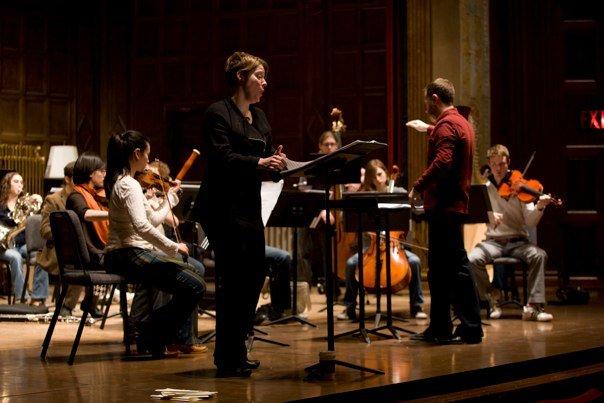 In rehearsal with Eastman Musica Nova, Brad Lubman, conductor