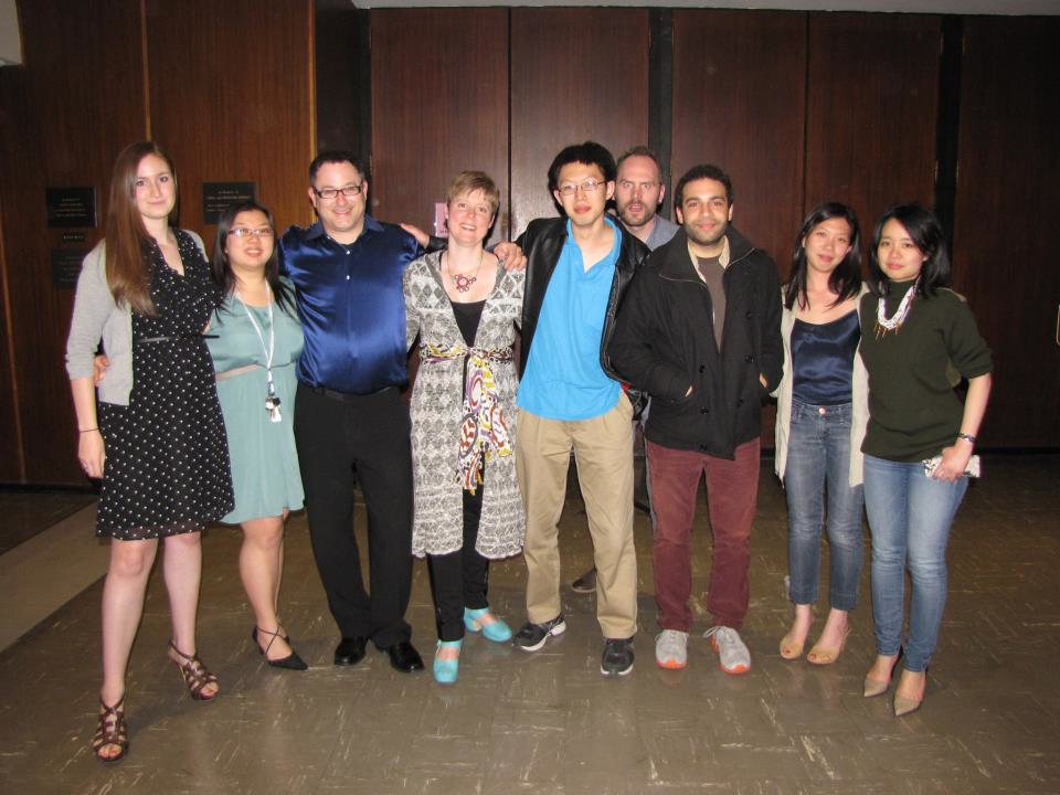 Tony Arnold and Michael Norsworthy with Brandeis University graduate student composers, 2013