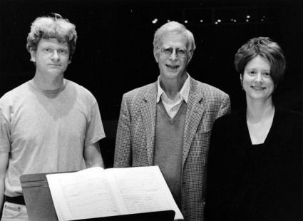 The late, great composer Jonathan Harvey (center) with conductor Magnus Martensson and TA at June in Buffalo 2003