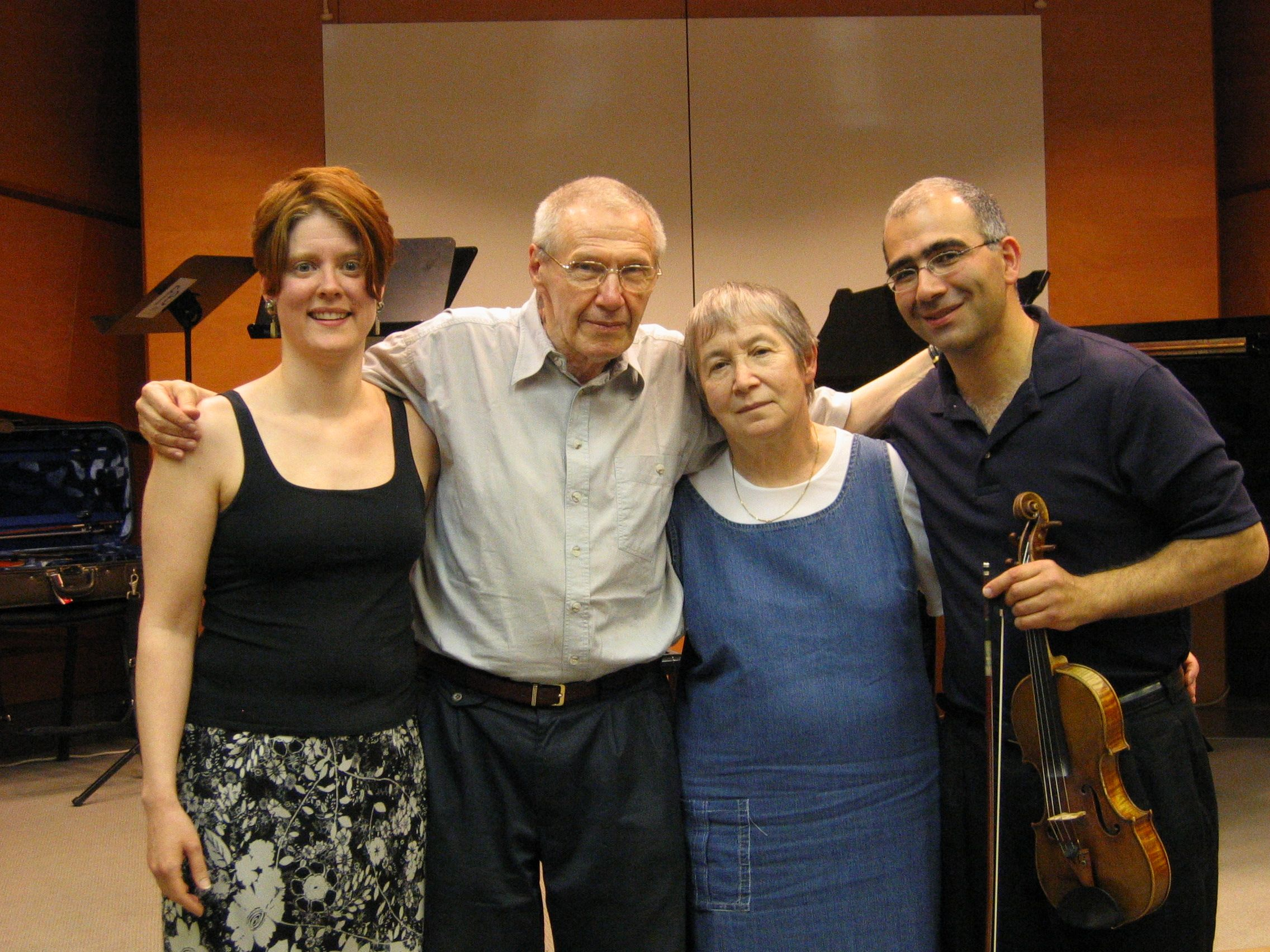 Following the masterclass on  Kafka Fragments  in Budapest, June 2004. TA, György & Márta Kurtág, Movses Pogossian.