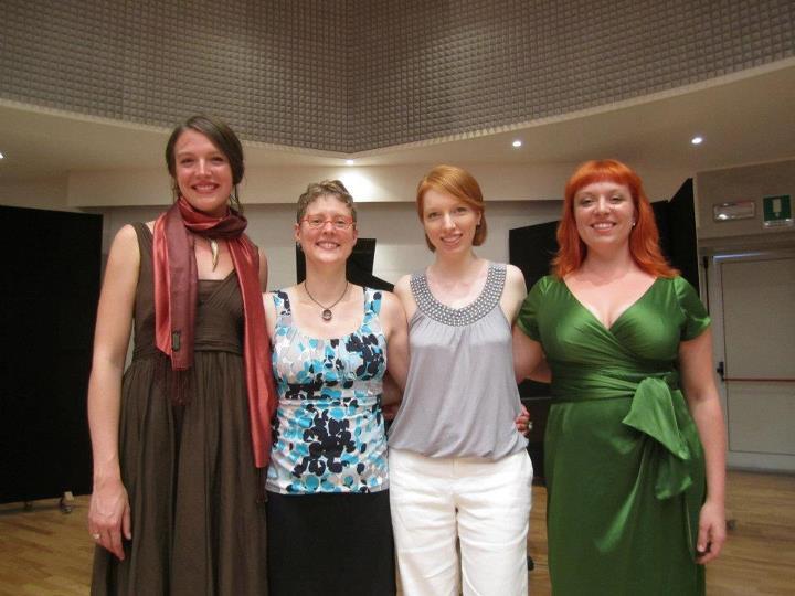 The Valkyries of soundSCAPE 2012: Stephanie Beattie, TA, Rebekah Alexander, and Liz Pearse.