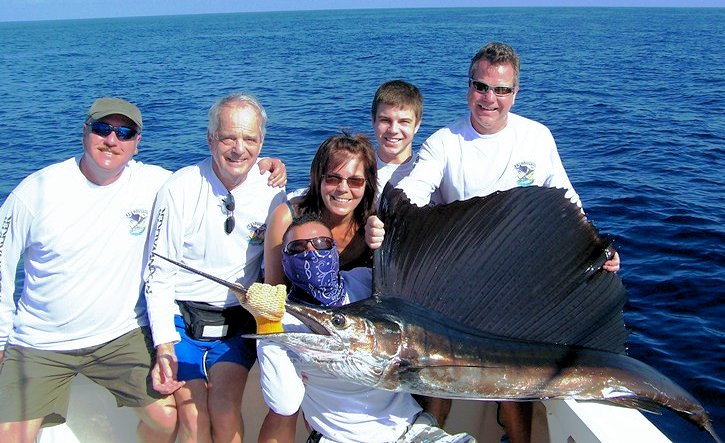 January 16    The Bertsch Family heading offshore today after the boys stayed inshore yesterday with the inshore action being very productive especially for dinner, with Snapper, Grouper and the release of 3 Roosterfish,  Offshore provided just as much action raising 20 Sailfish.  Frank Mekker released his Sailfish which was only the second fish he ever got in his life, the first was also on the MoonWalker on Jan. 12. Willy released 1 Sail as did Kenny.  A Great Day of Offshore fishing with the MoonWalker.