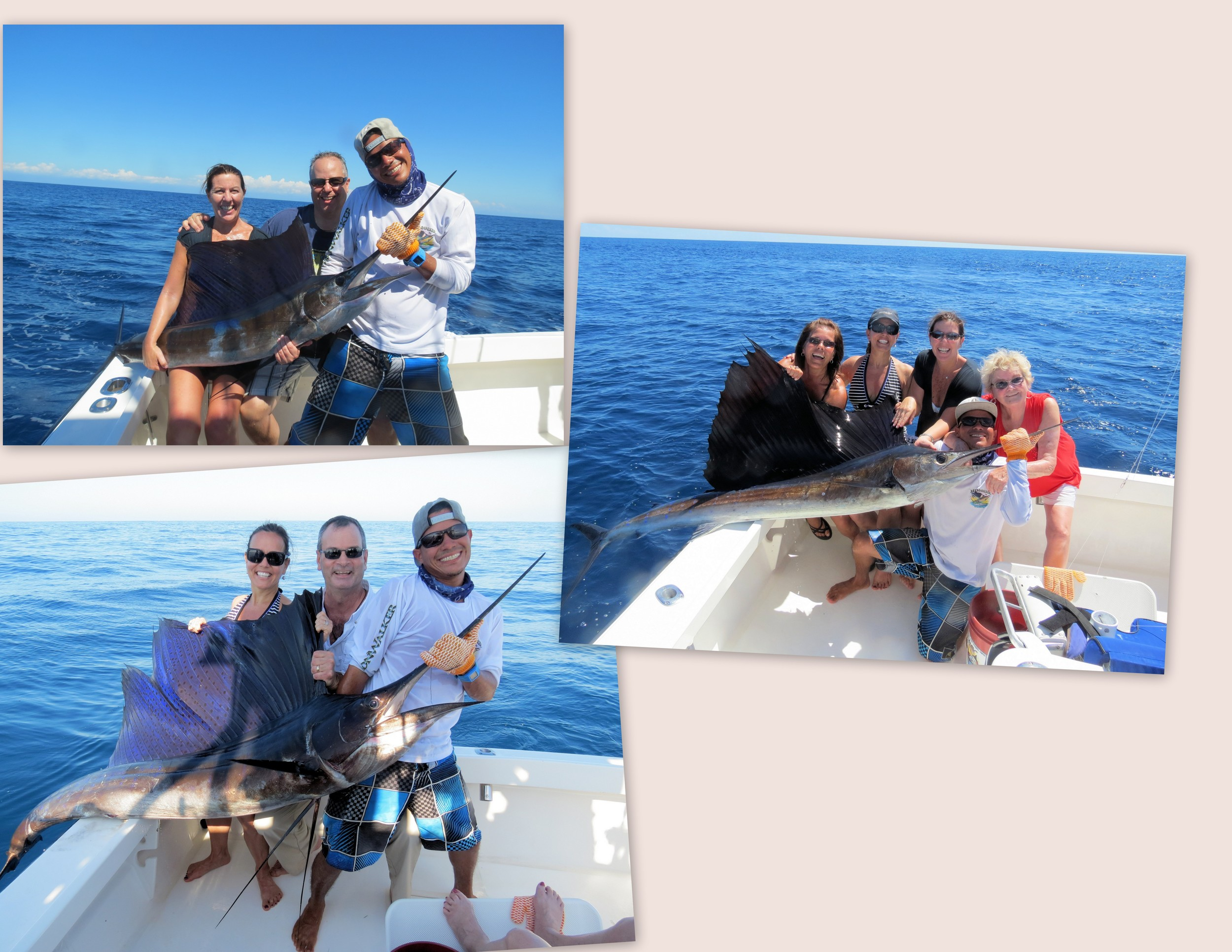 Top Left:   johanna and Anthony Pellati, mate Kelvin and Johanna's first sailfish   Middle: Terri Bertsch, Rosanna, Johanna Pellati, Helga Bertsch with Kelvin   Bottom Left:    Rosanna and Joe O'Donnell, with Kelvin and Joe's jumbo sailfish