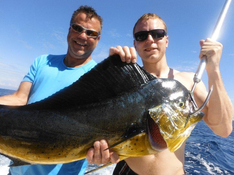 Kenny & Ryan Bertsch with one of 4 Mahi Mahi boated by the Moonwalker on Feb. 9th