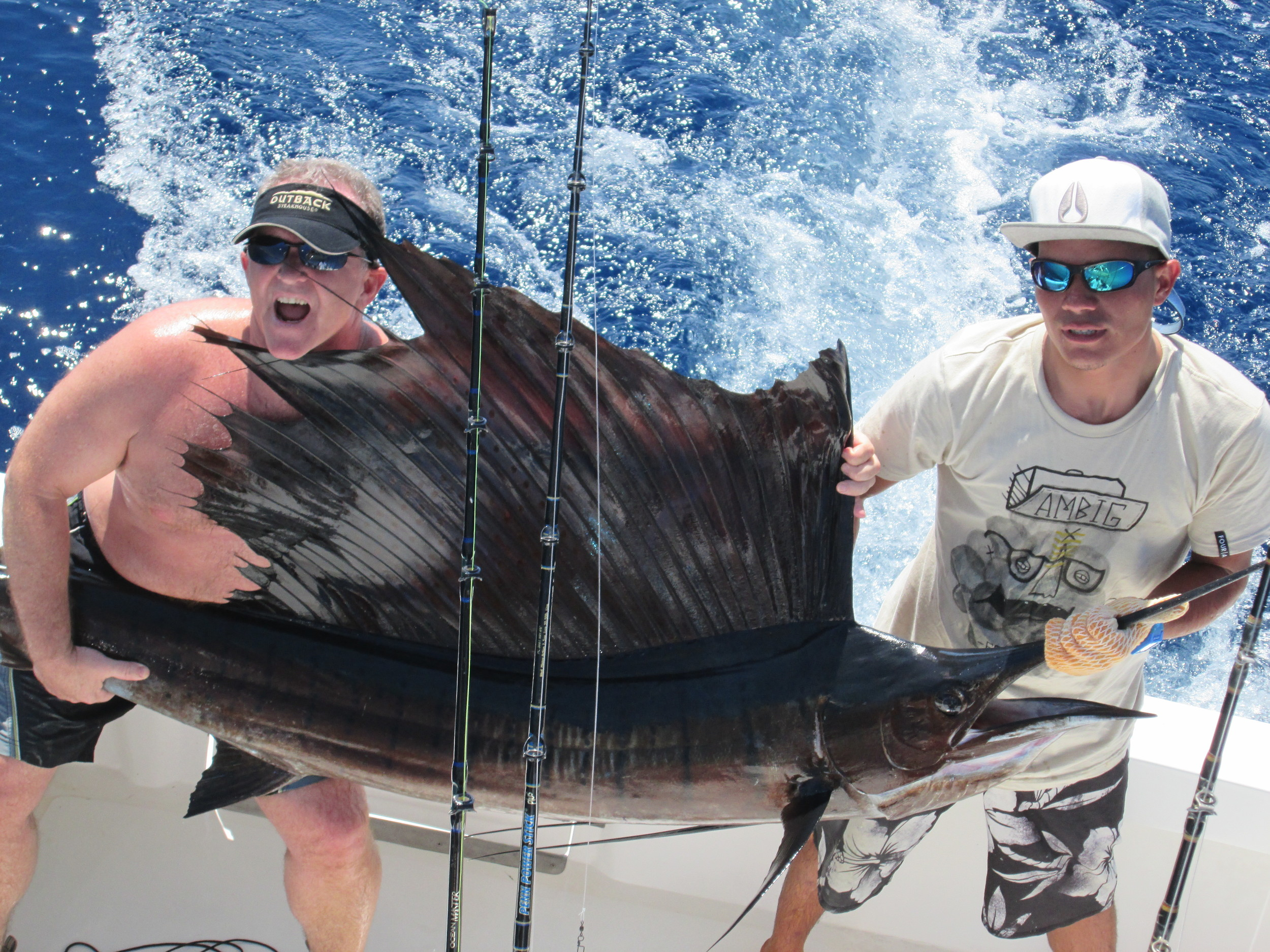Brian Treece, Johnny G. and Johnny A. released 5 Sailfish today on their 3rd and final day Offshore here with the MoonWalker.  They are already picking the February Dates for Next Year.