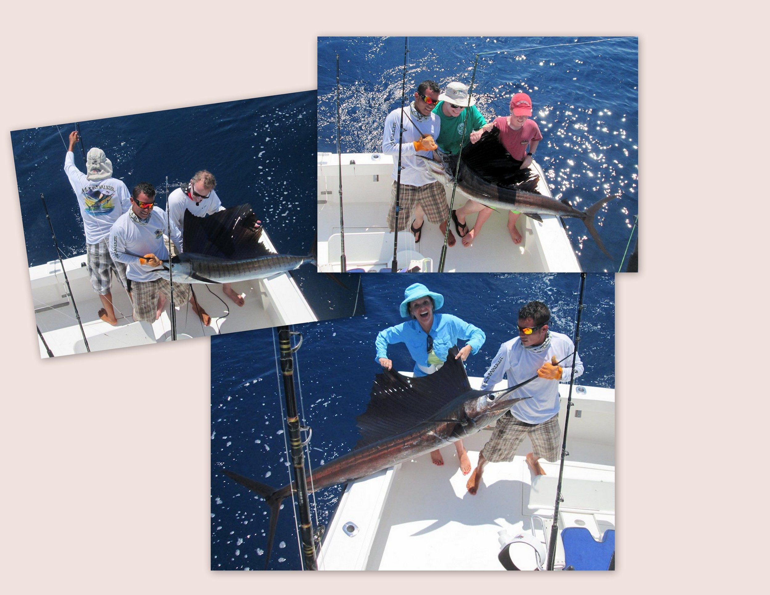 Nikki Seybold took her kids out for a Costa Rica offshore experience, and that is what they had with a Triple Hook up as soon as the lines were in the water which satisfied all 3 children at once.  No more fighting over who gets the first fish.  The afternoon continued with constant hook ups and the Release of 15 Sailfish
