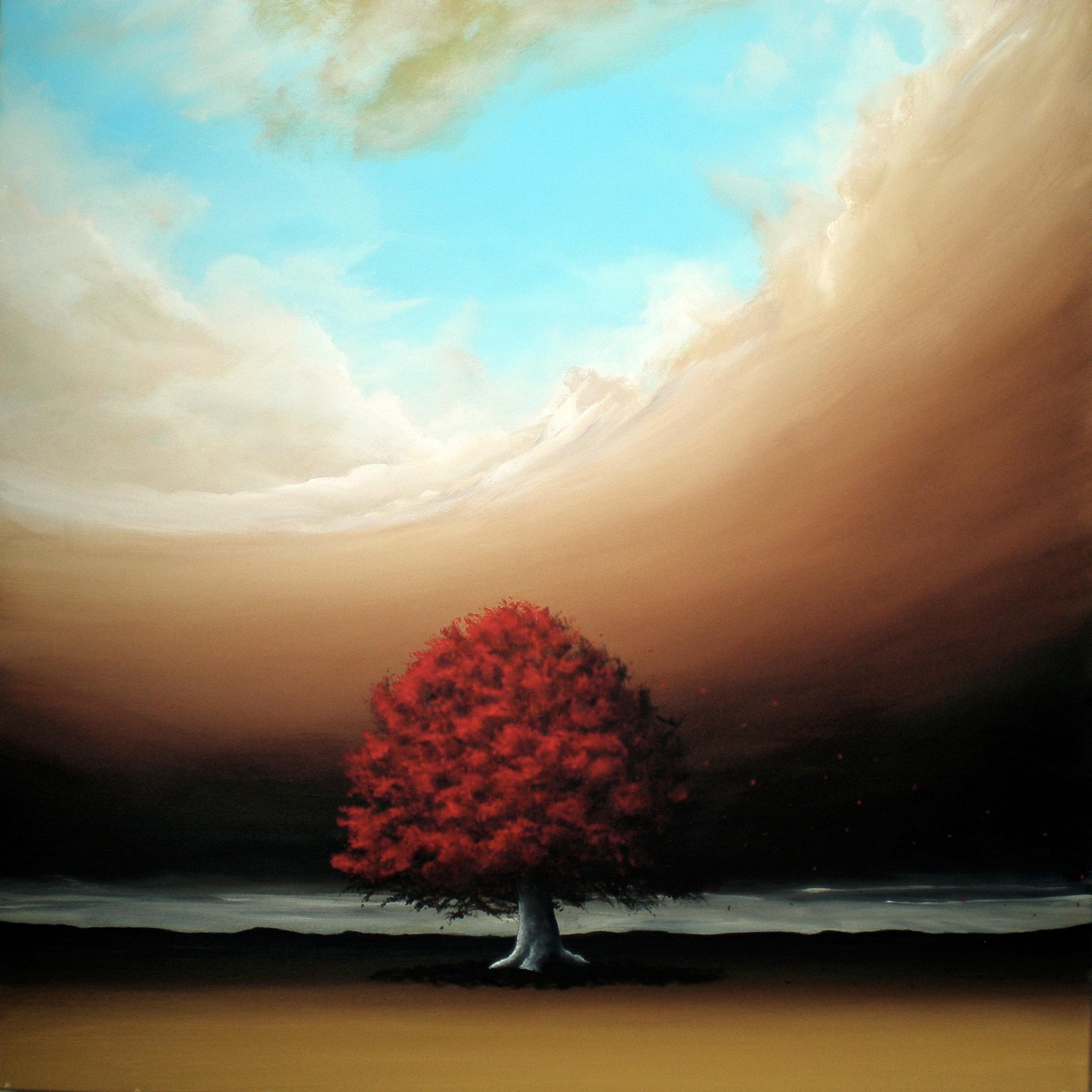 """Red tree - 100 x 100 cm / 40"""" x 40""""  100.000 SEK = 10 646.3 U.S. dollars"""
