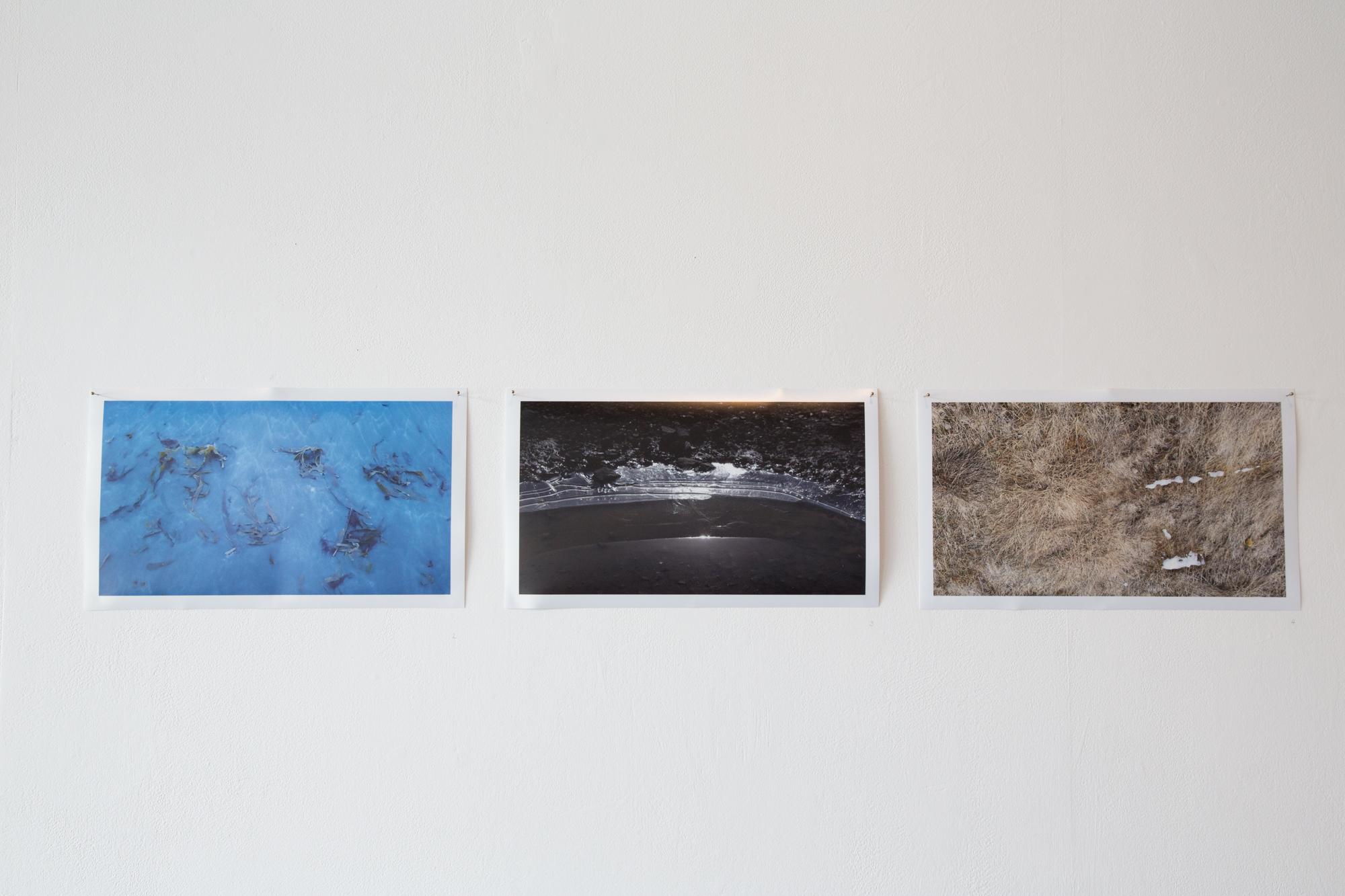Seaweed & Sand (Ólafsfjörður)  2016, Giclee print on metallic paper.   Ice & Stone (Ólafsfjörður)   2016, Giclee print on metallic paper.   Ice melting (Ólafsfjörður)  2016, Giclee print on metallic paper.  Photograph by Yvonne Doherty at Cirrus Photography.
