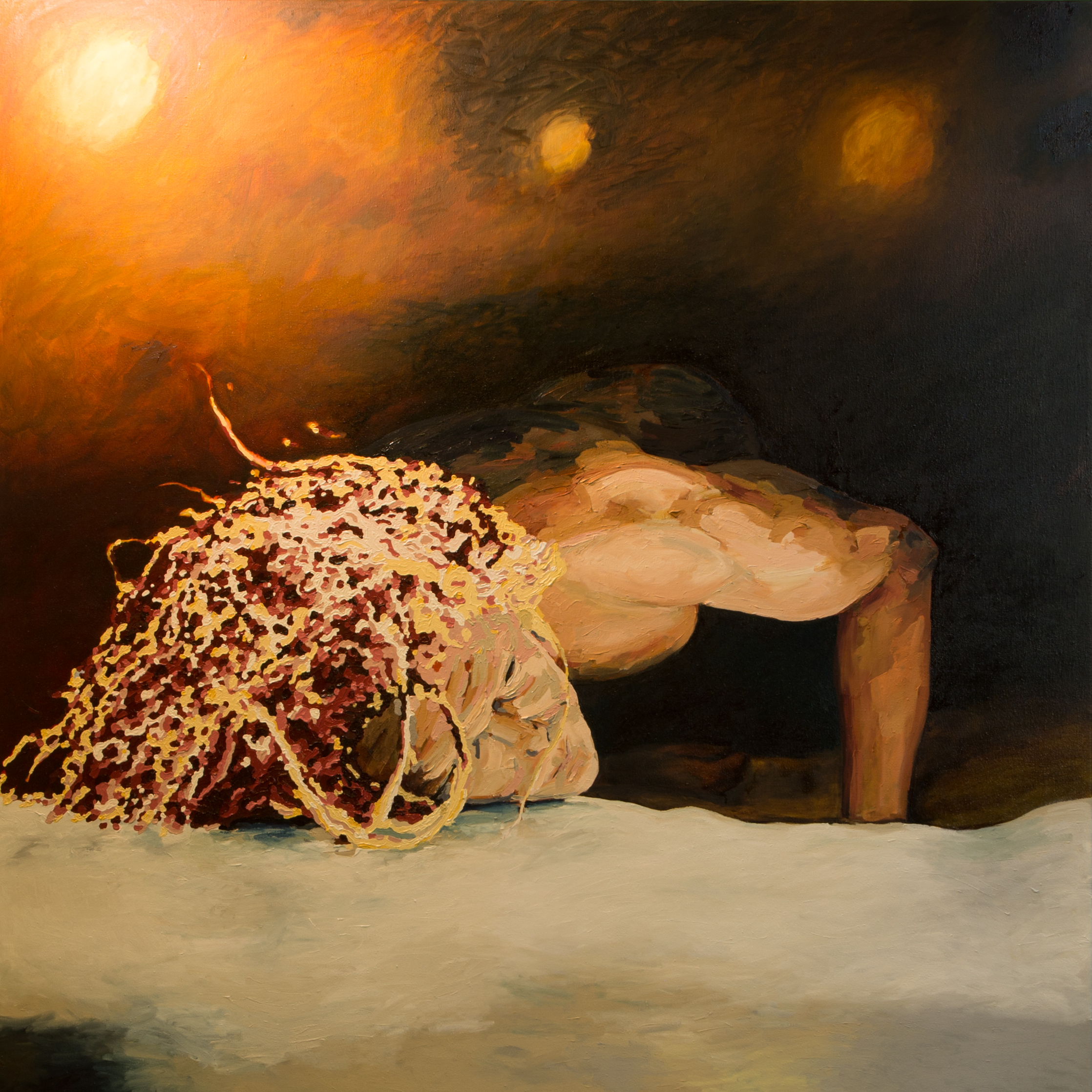 Station 3: Jesus Falls the First Time  Lyndall Adams  Stay with me …the first fall?  2016, Oil on linen 152 x 152cm