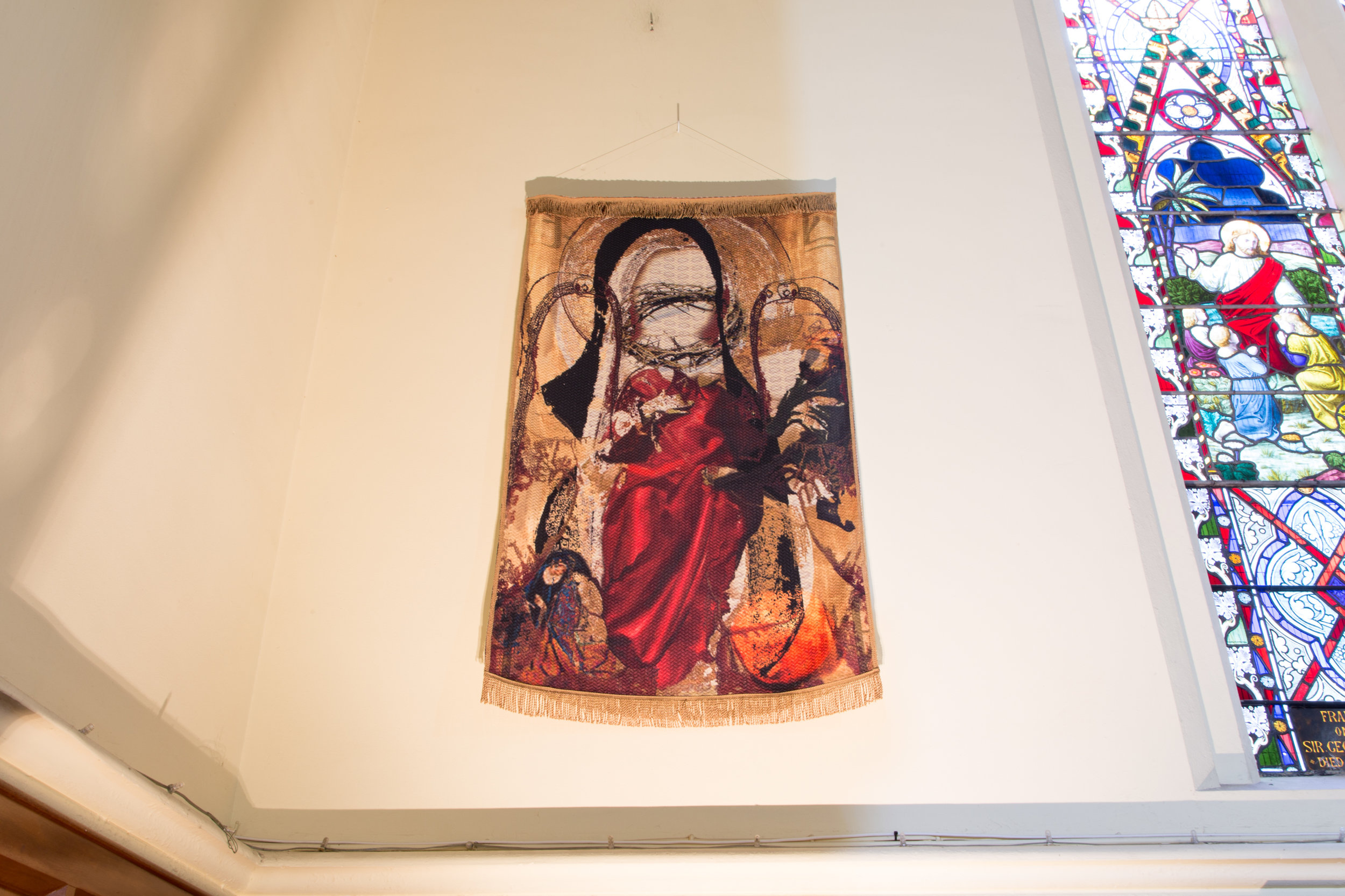 Station 10: Jesus is stripped  Aasiya Hassim Evans  Carpet One: Unveiled  2016, Digital printed on woven polyester 152.4 x 91.44 cm