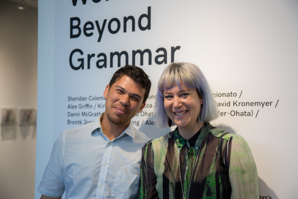 14 – 28 October 2016.   Words Beyond Grammar  was an exhibition curated by Claire Bushby and SJ Finch for Edith Cowan University's Spectrum Project Space.   Sheridan Coleman  •  Karen Ann Donnachie and Andy Simionato  •  Alex Griffin  • Kirsty Jade •  Rebecca Jensen  •  Loren and David Kronemyer  •  Danni McGrath  •  M-O (Sayaka Ohata and Joseph Mayrhofer-Ohata)  •  Brontë  Jones   •  Steven Tapping  • Alex Tate