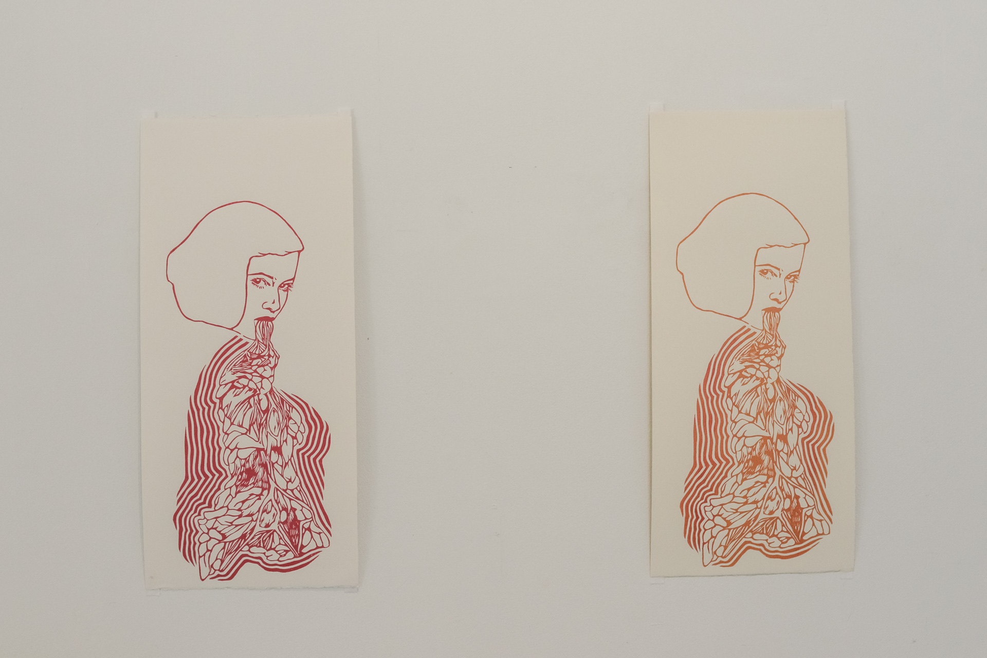 Kimberley Pace, Untitled (Red), lino print, 52 x 24.3 cm and Untitled (Orange), 2012, lino print, 52cm x 24.3cm.