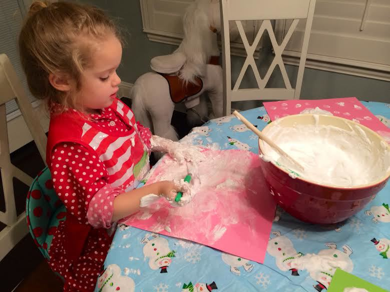 She said she was painting herself into a snowy elf! Fortunately all of the ingredients are very washable, so I wasn't concerned about the mess!
