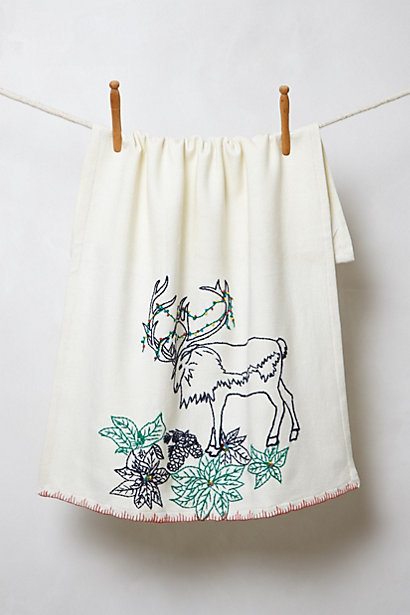 Anthropologie Embroidered Reindeer Dishtowel