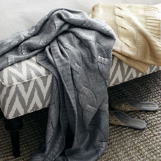 West Elm (owned by Pottery Barn, also a fantastic company) Gilded Cable Throw