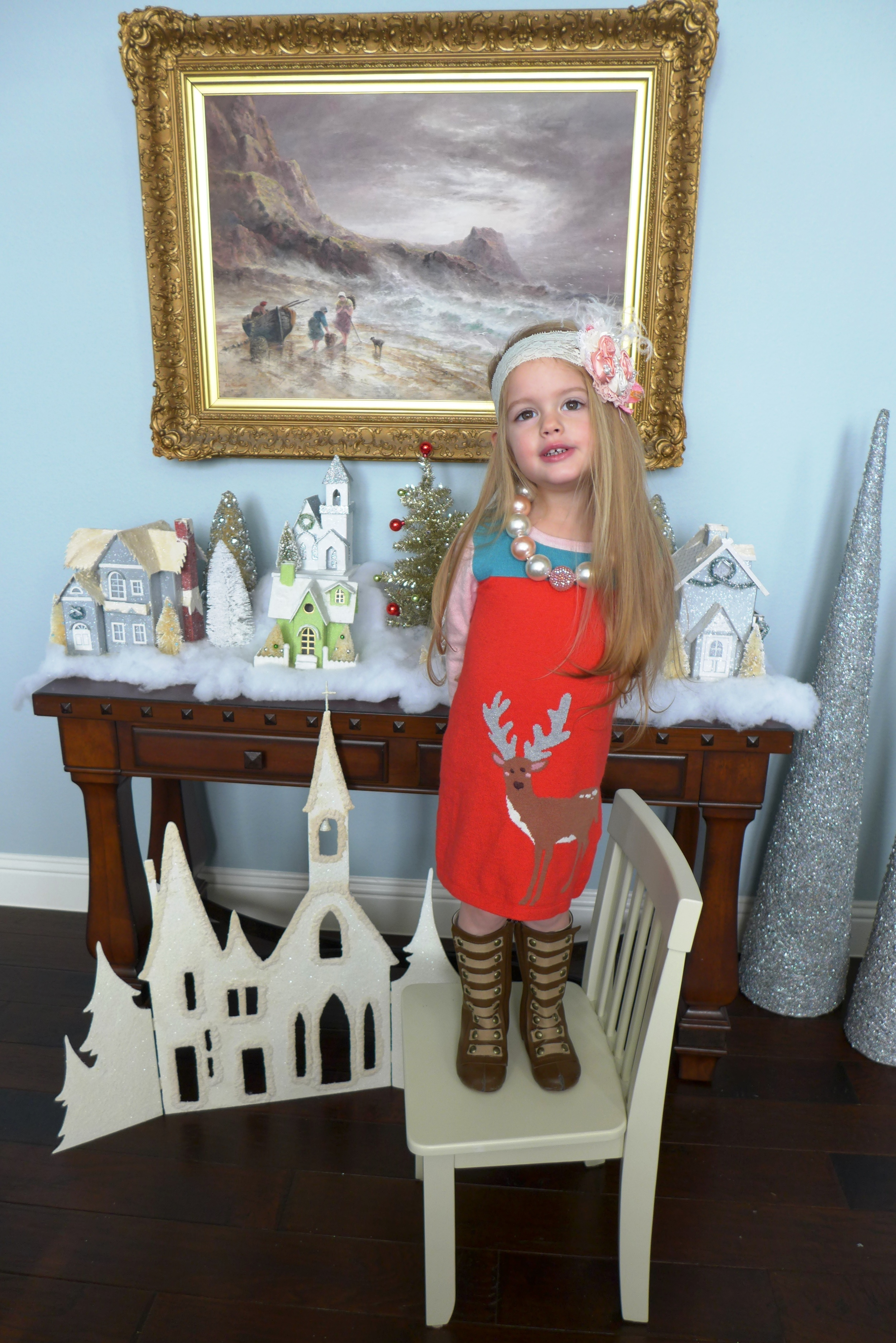 Mini Boden Woodland Reindeer Knitted Dress  Joyfolie Leighton Boots  Headband: Appelilly Couture  Necklace: Green Apple Girlys