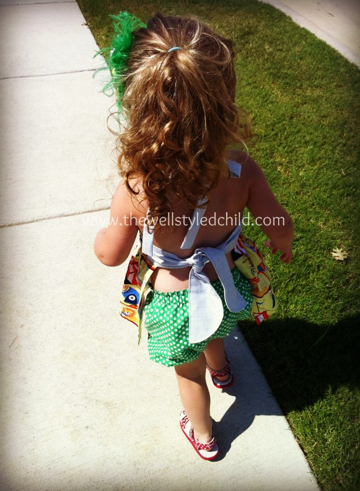 How adorable is this from behind? Matching polka dot bubble shorts-- swoon!