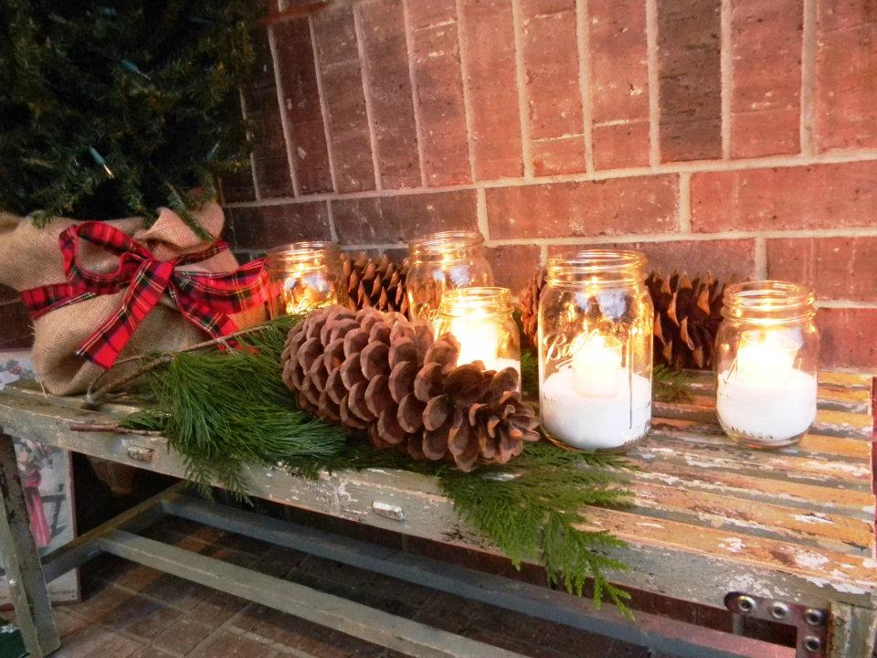 Jars filled with Epsom salts and votives make a beautiful snowy and Christmasy entrance