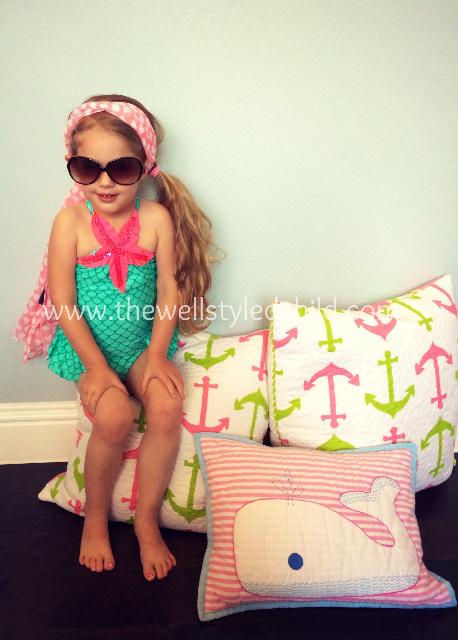 Love U Lots Mermaid Halter One Piece Swimsuit   Sunglasses:  Island in the Sun   Headscarf:  Target