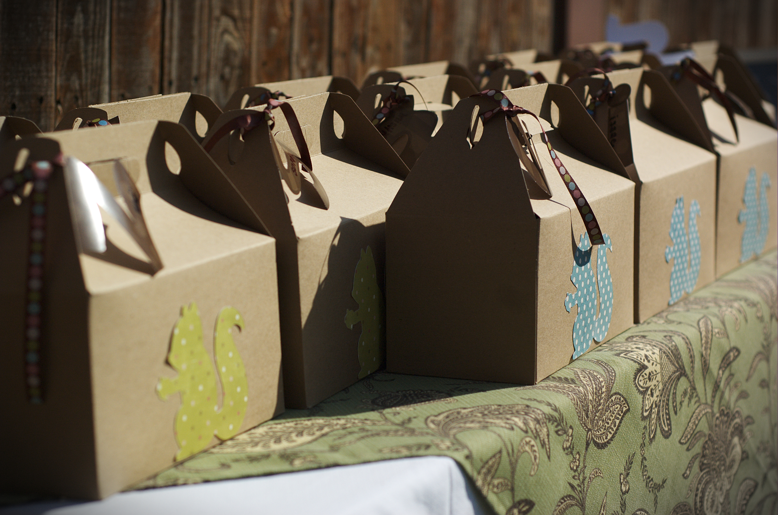 Squirrel silhouettes cut on on the Cricut adorn these cute favor boxes!